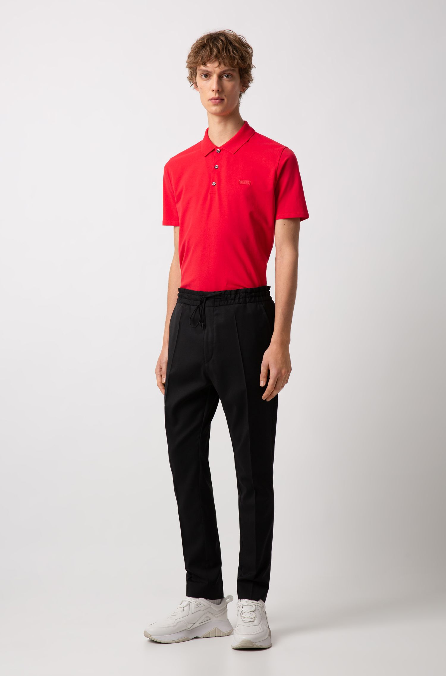 Slim-fit polo shirt with reverse-logo badge, Open Pink