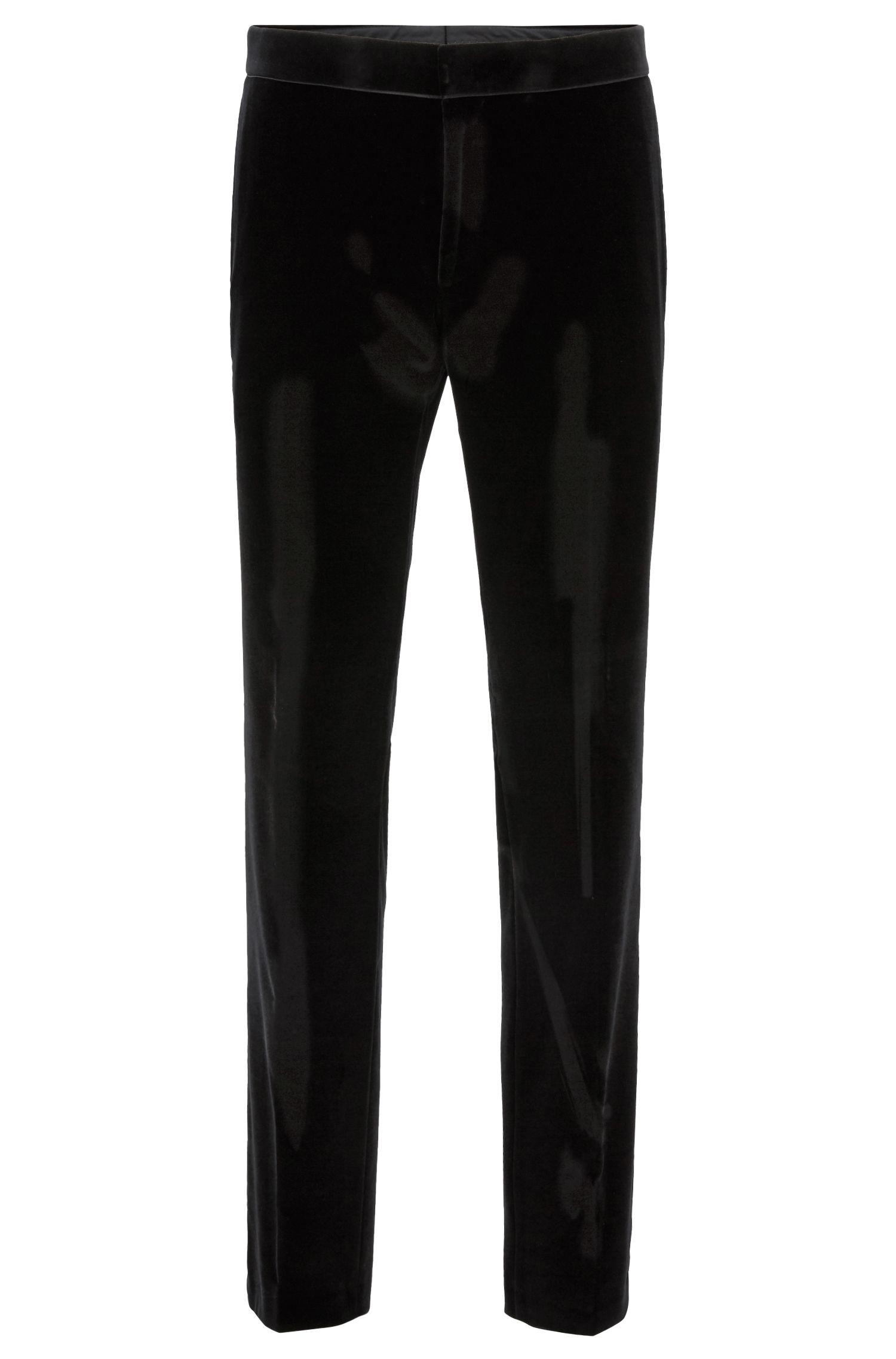 Slim-fit tuxedo in velvet with silk trims, Black