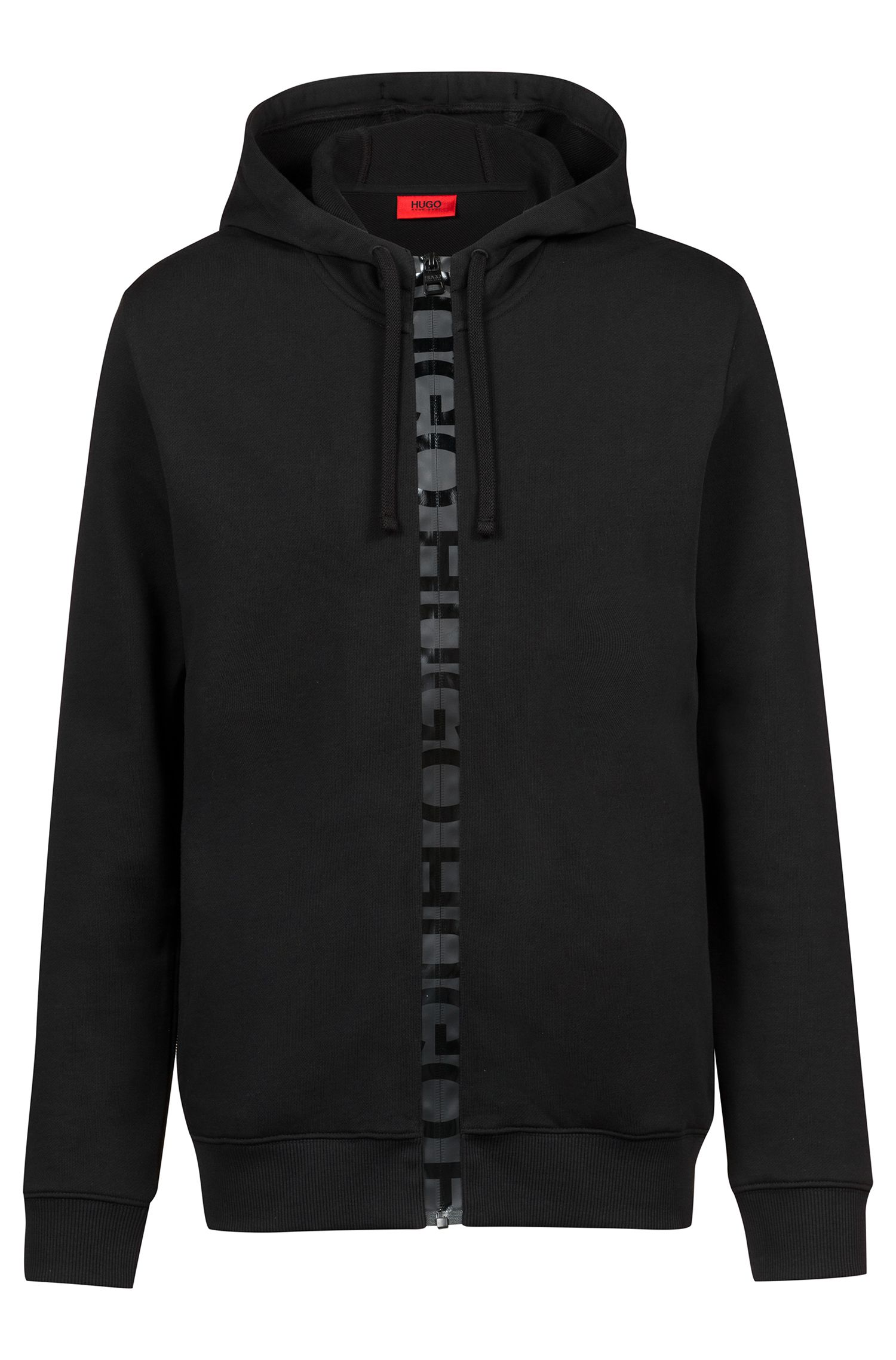 French-terry hooded sweatshirt with logo-tape zipper, Black
