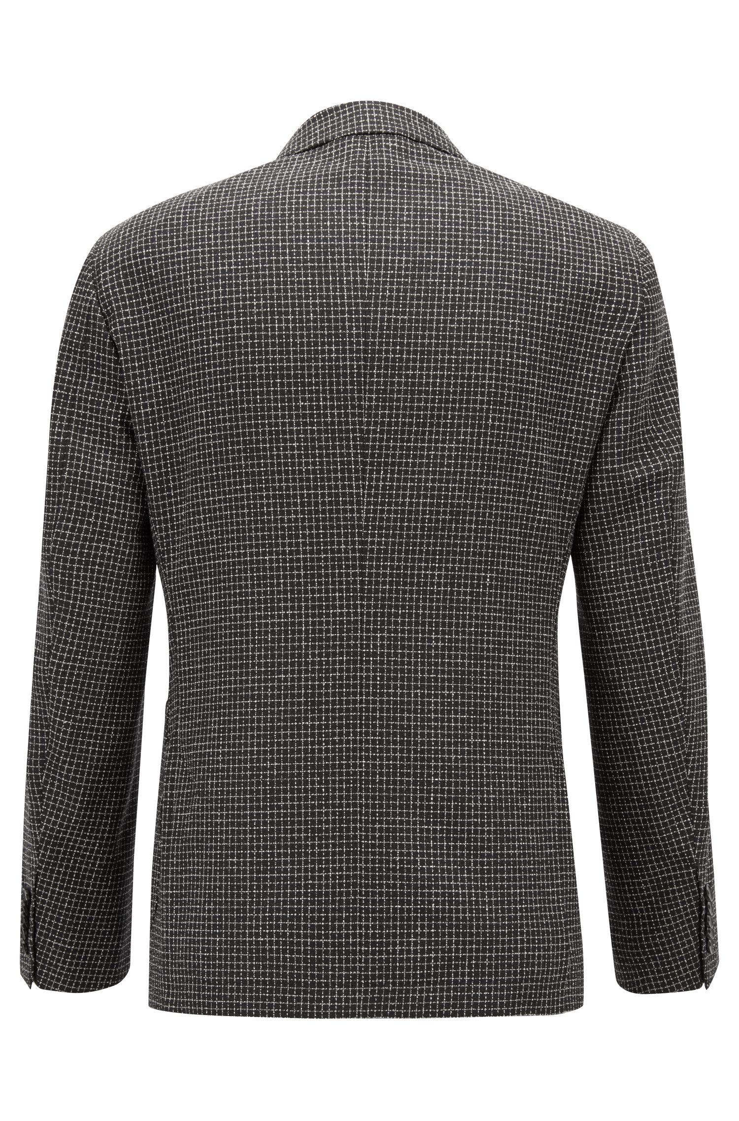 Tailored slim-fit jacket in virgin wool with silk, Black