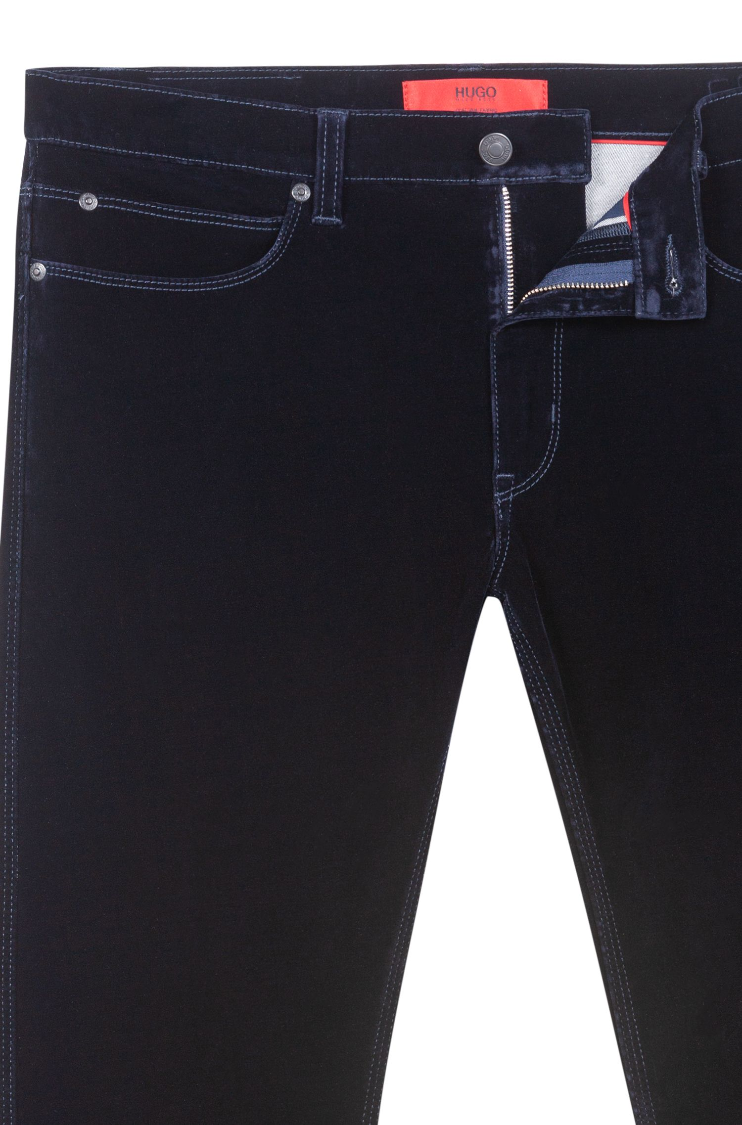 Skinny-fit jeans in velvet super-stretch denim, Dark Blue
