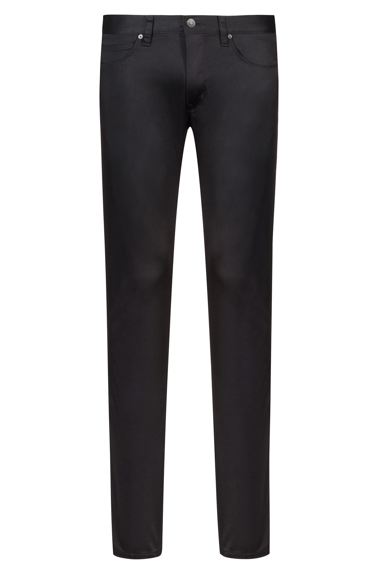 Slim-fit jeans in satin-touch stretch cotton, Black