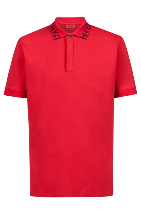 Piqué polo shirt with logo collar, Open Pink