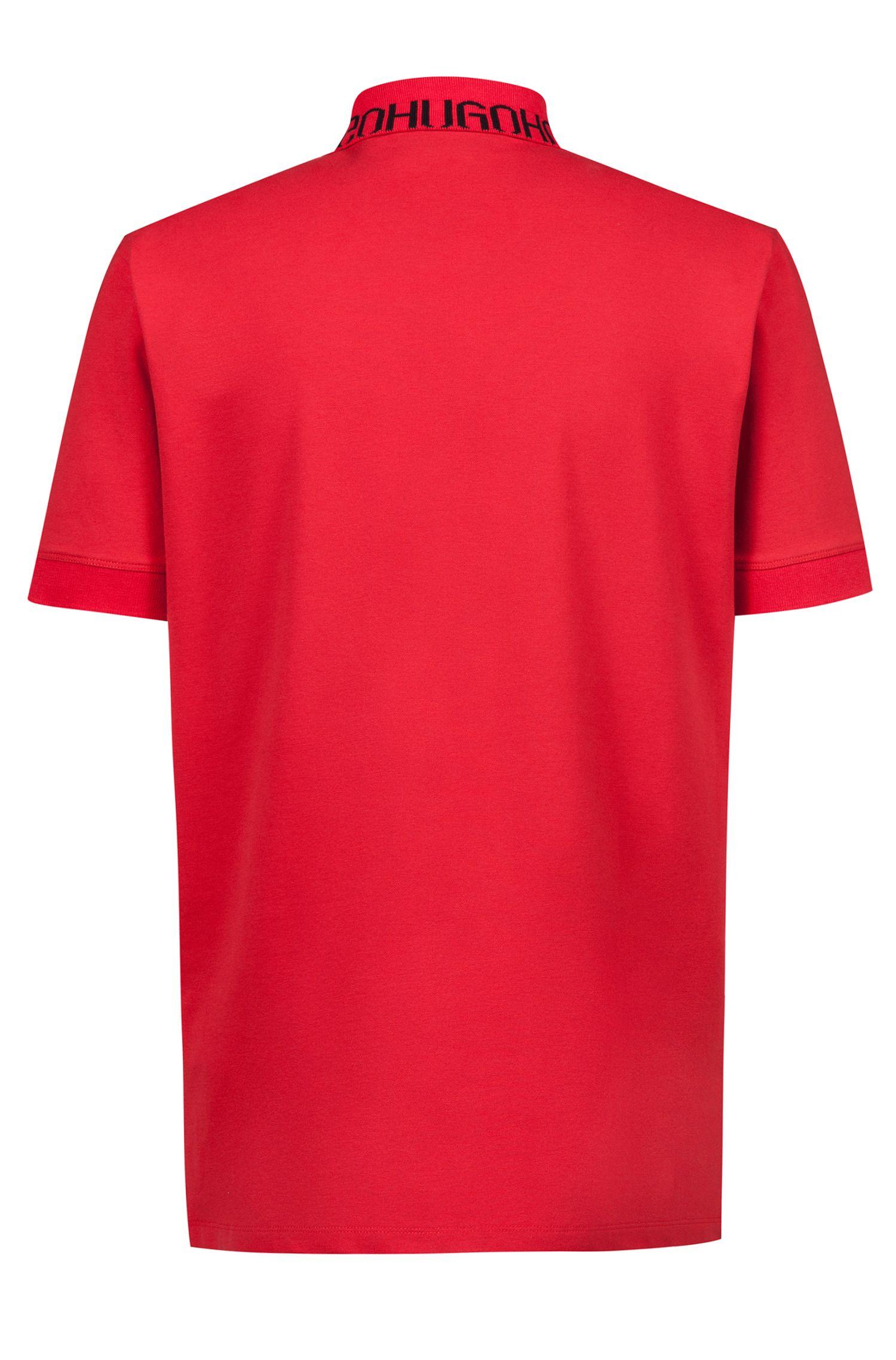 Piqué polo shirt with logo collar, Open Pink