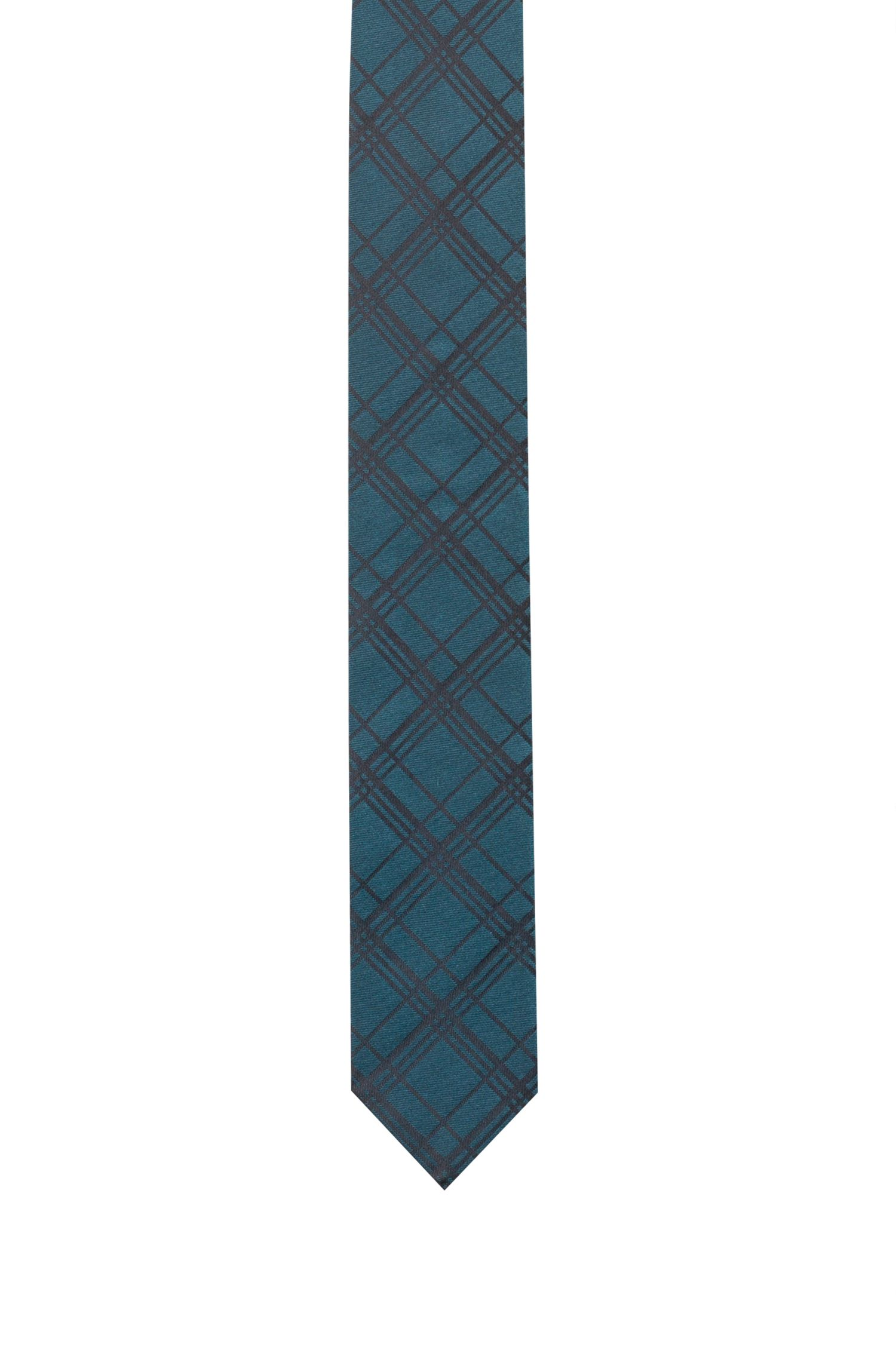 Silk-jacquard tie with plain check pattern, Dark Green