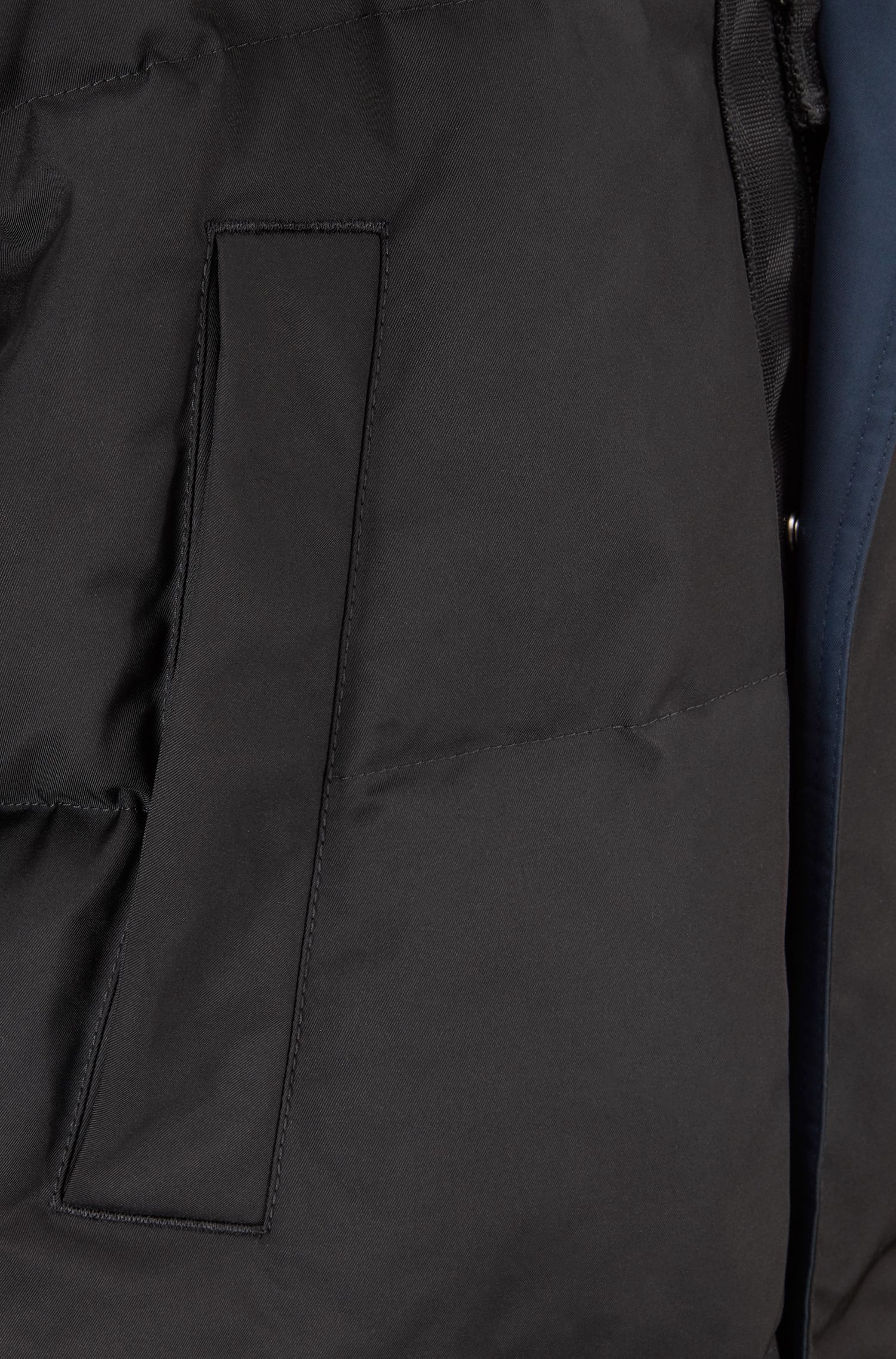 Down-filled jacket with water repellency and detachable hood, Black