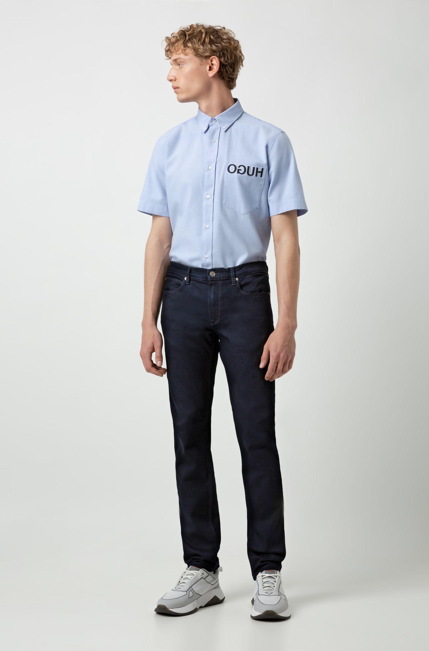 Slim-fit jeans in dark-blue stretch denim, Dark Blue