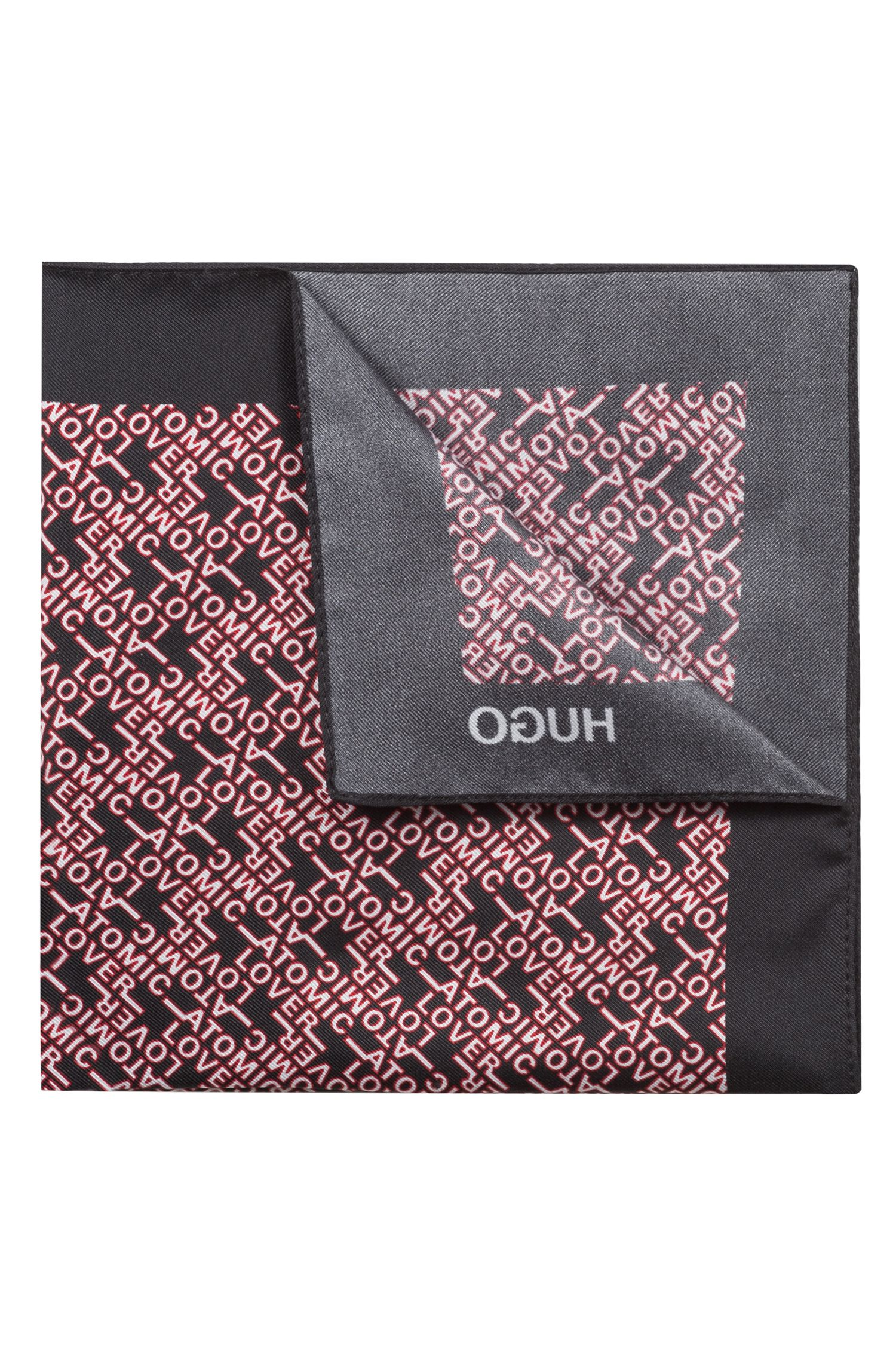 Pocket square in pure silk with slogan print, Black