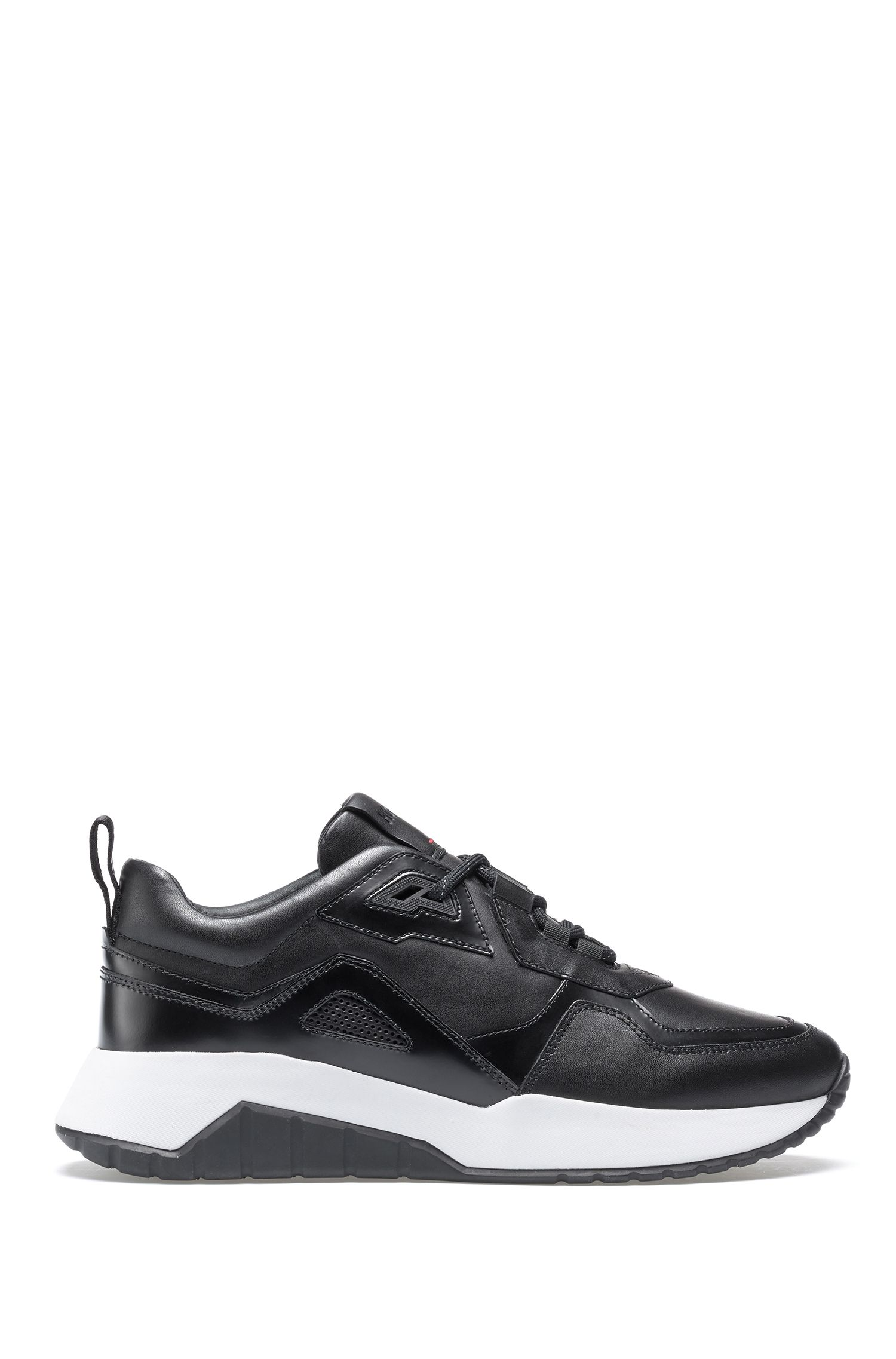 Lace-up sneakers in leather with perforated details, Black