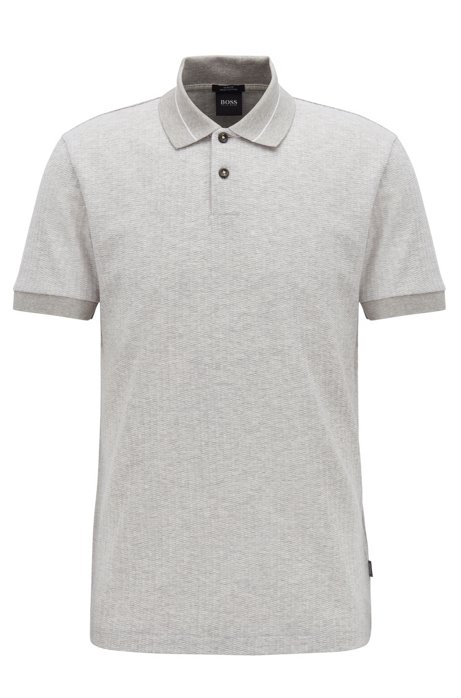 Slim-fit polo shirt in micro-pattern striped jacquard, Open Grey