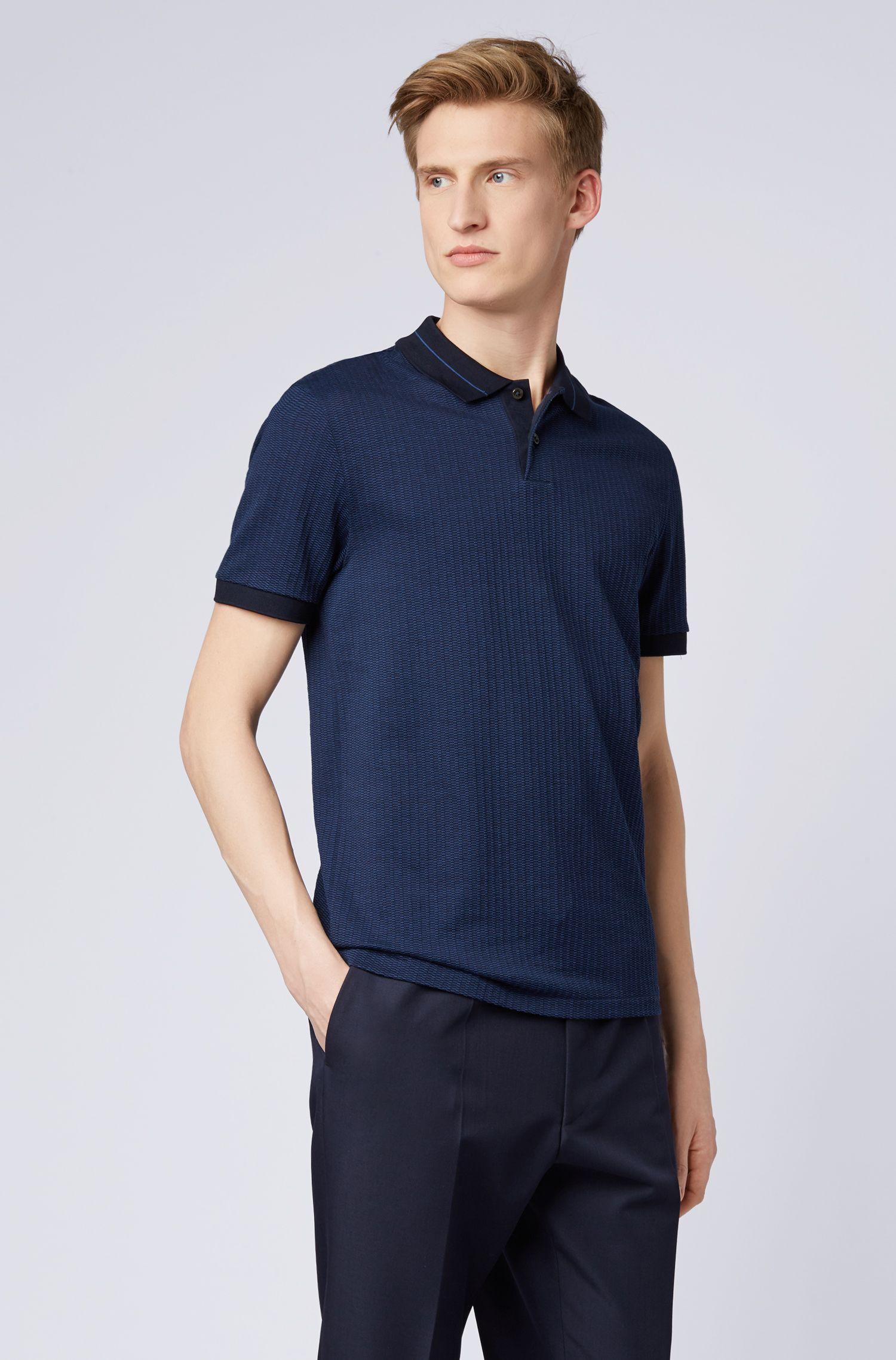 Slim-fit polo shirt in micro-pattern striped jacquard, Dark Blue