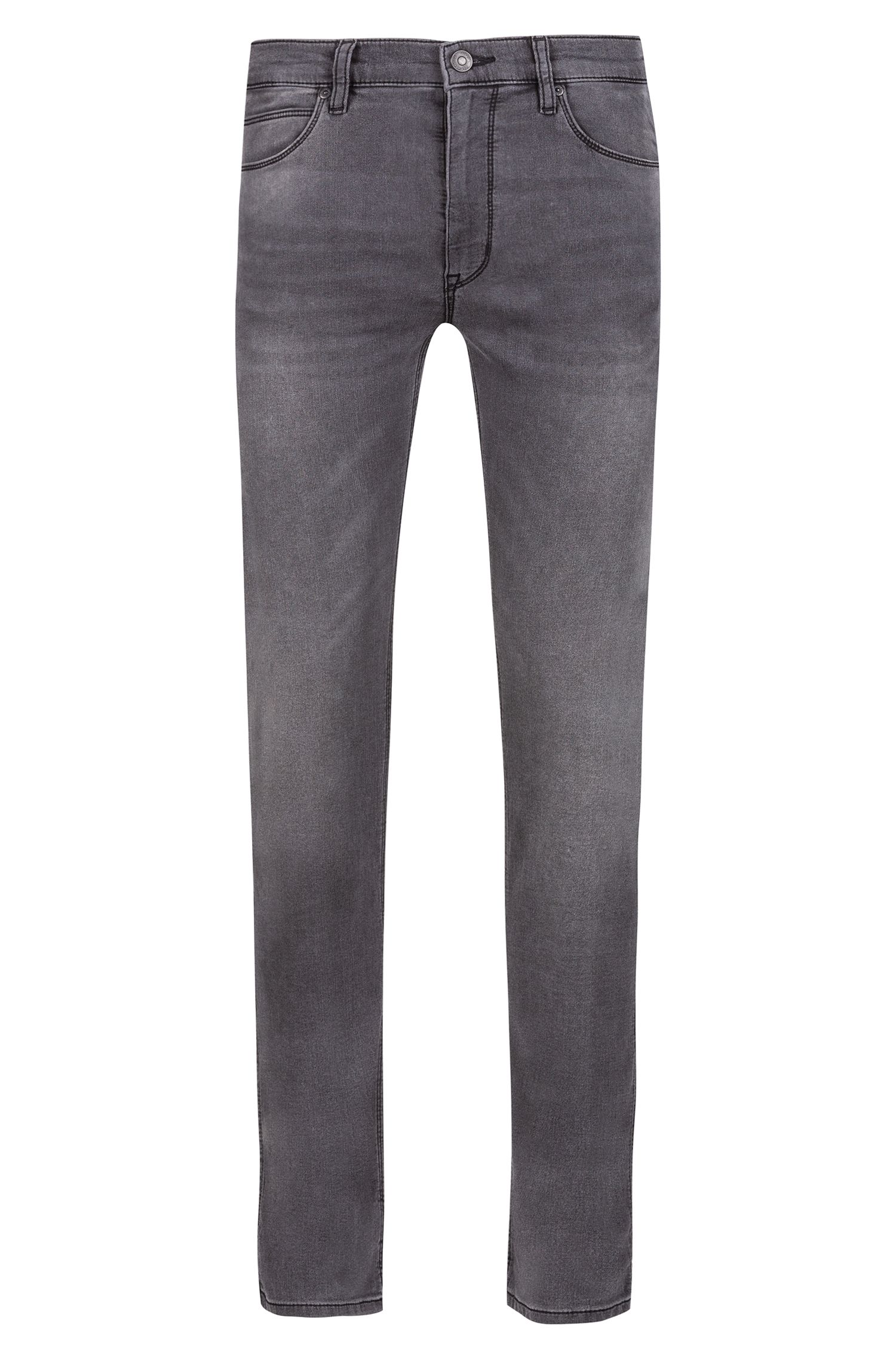 Skinny-fit jeans in gray stretch denim, Charcoal