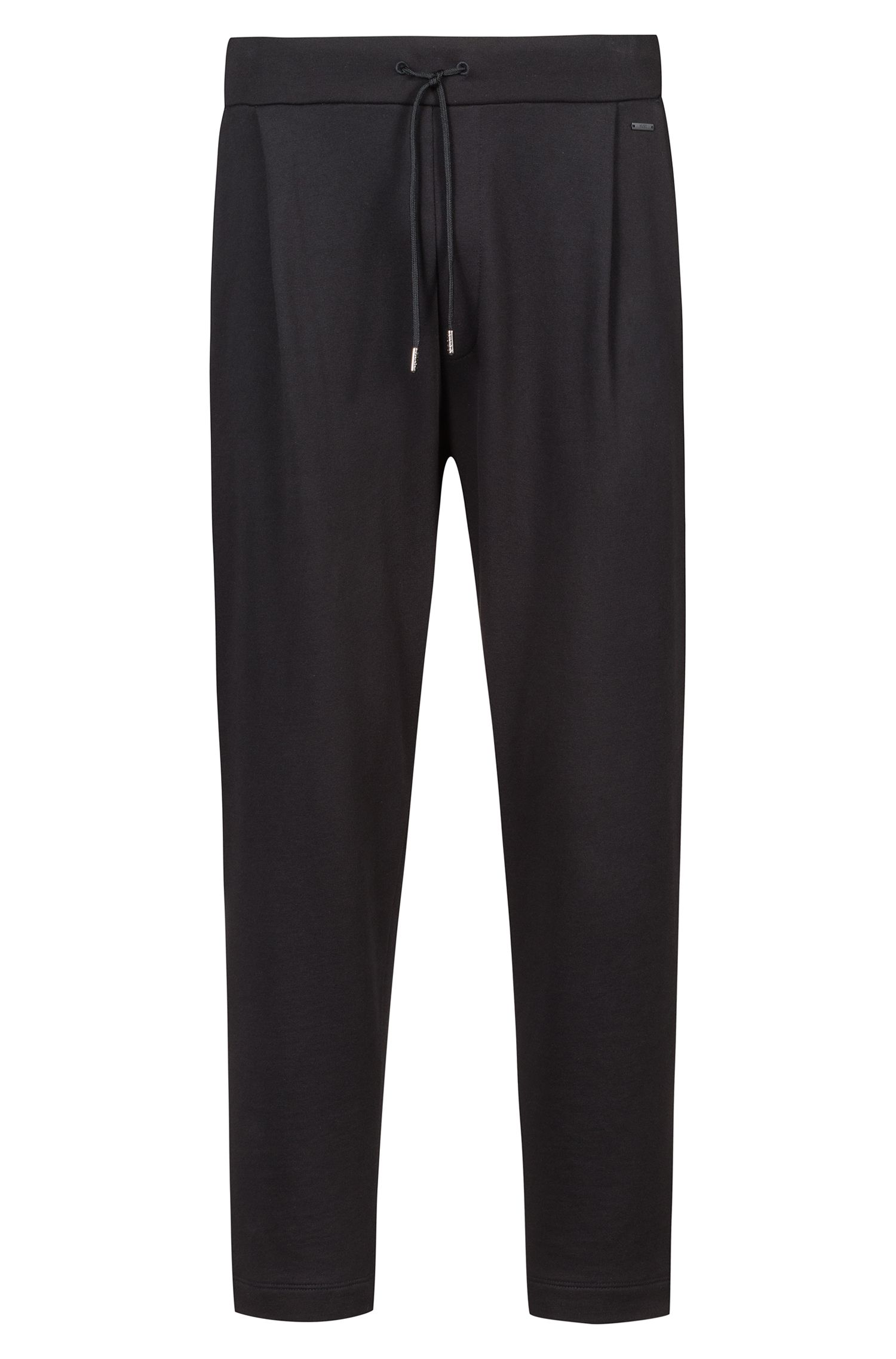 Regular-fit cropped trousers in French terry, Black