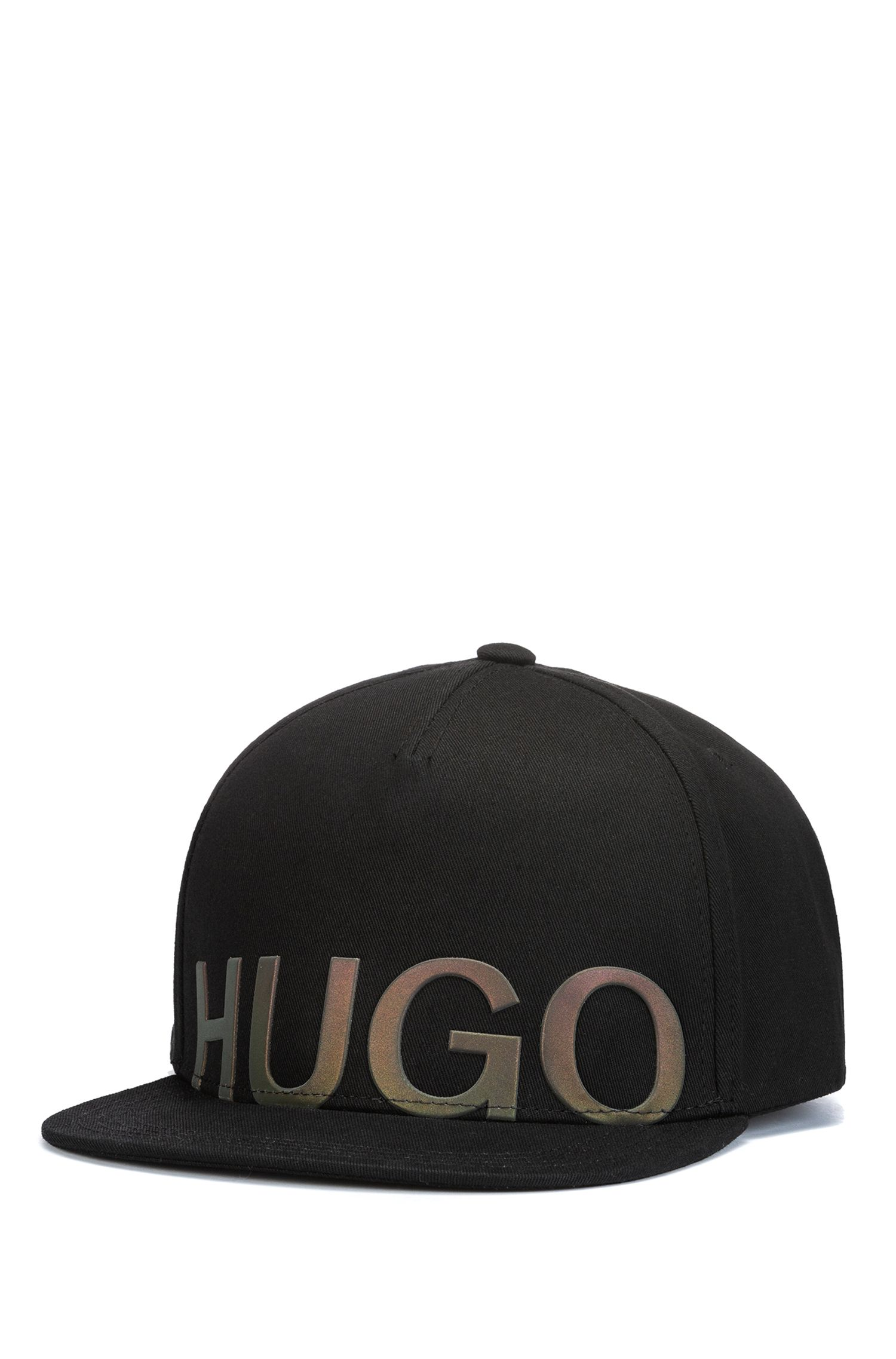 Cotton-gabardine snapback cap with iridescent logo, Black