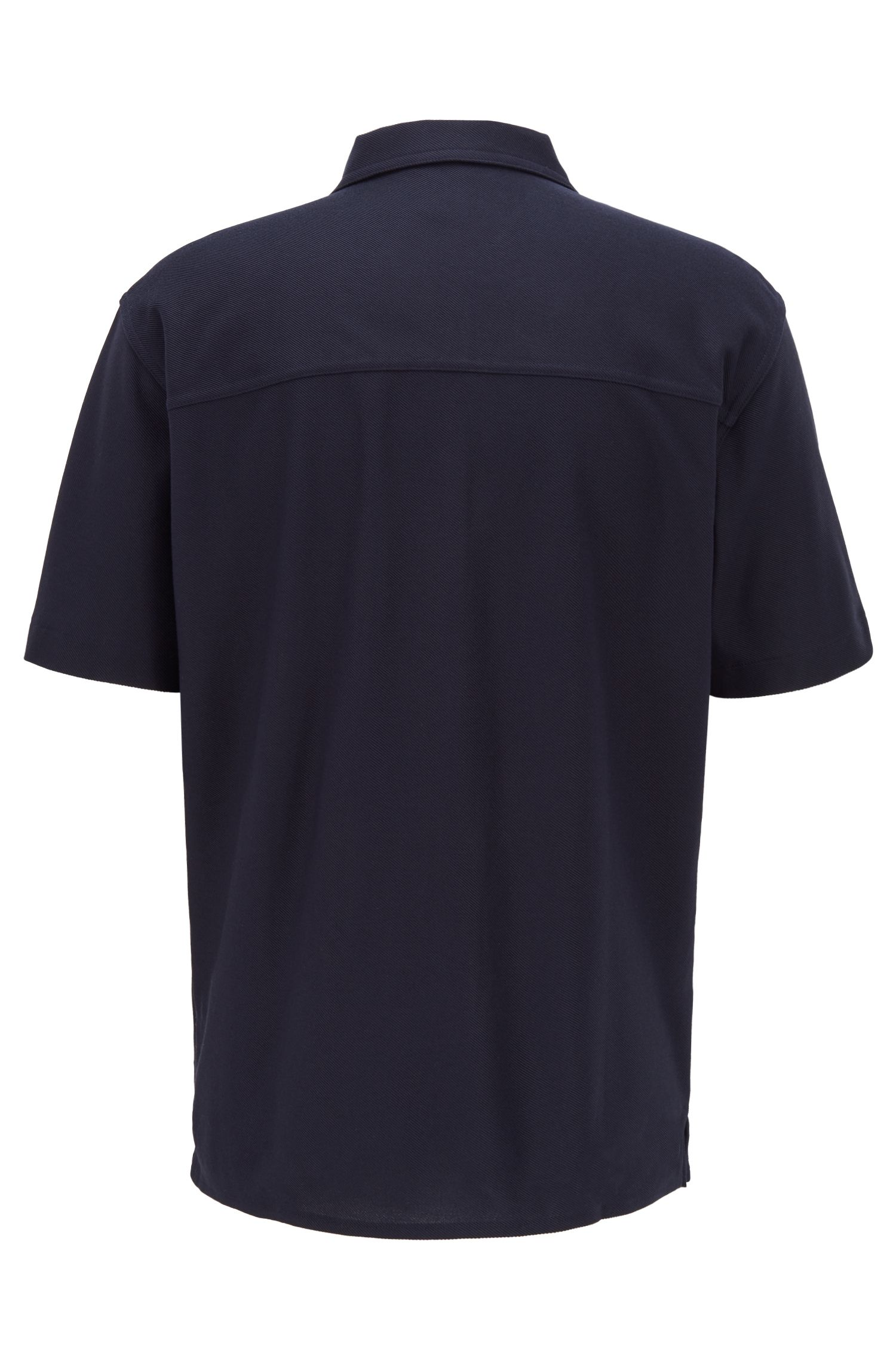 Relaxed-fit shirt with polo collar and woven details, Dark Blue