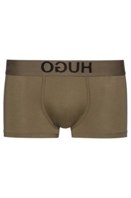 Stretch-cotton trunks with reverse-logo waistband, Dark Green