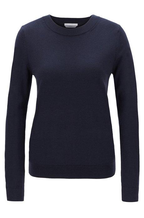 Crew-neck sweater in virgin wool, Open Blue