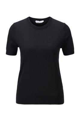 Short-sleeved sweater in virgin wool, Black
