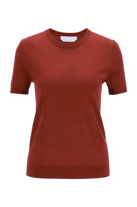 Short-sleeved sweater in virgin wool, Brown