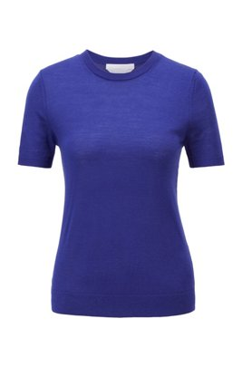 Short-sleeved sweater in virgin wool, Dark Purple