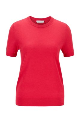 Short-sleeved sweater in virgin wool, Pink