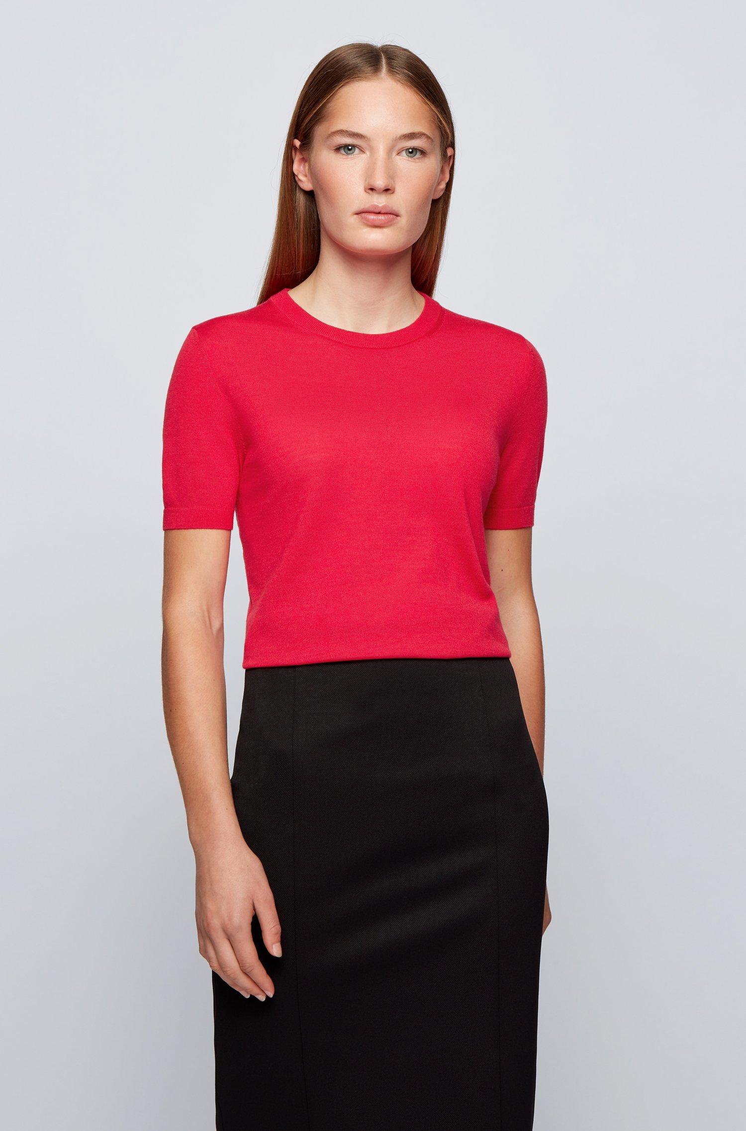 Short-sleeved sweater in virgin wool, Pink