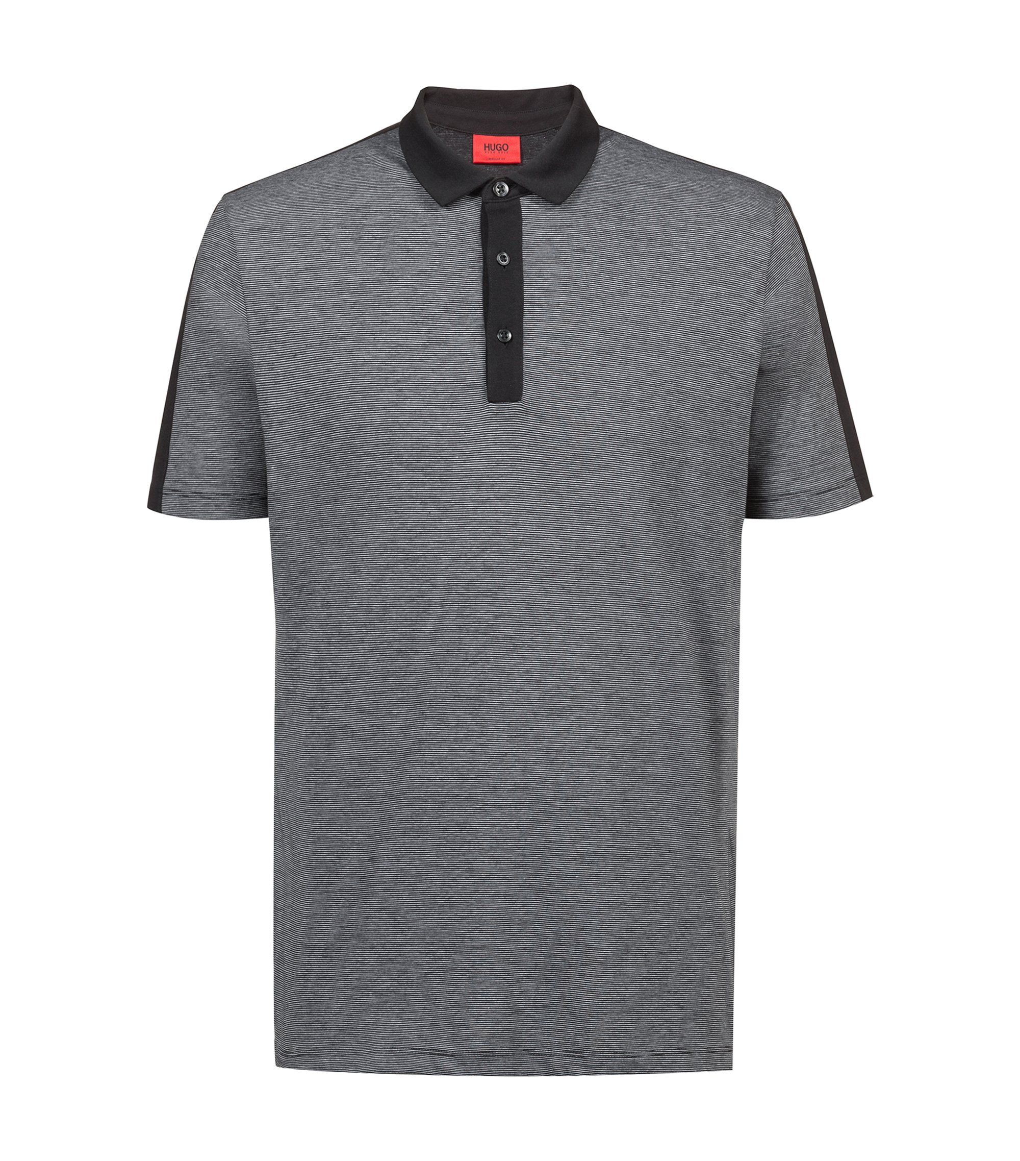 Regular-fit polo shirt in finely striped Pima cotton, Black