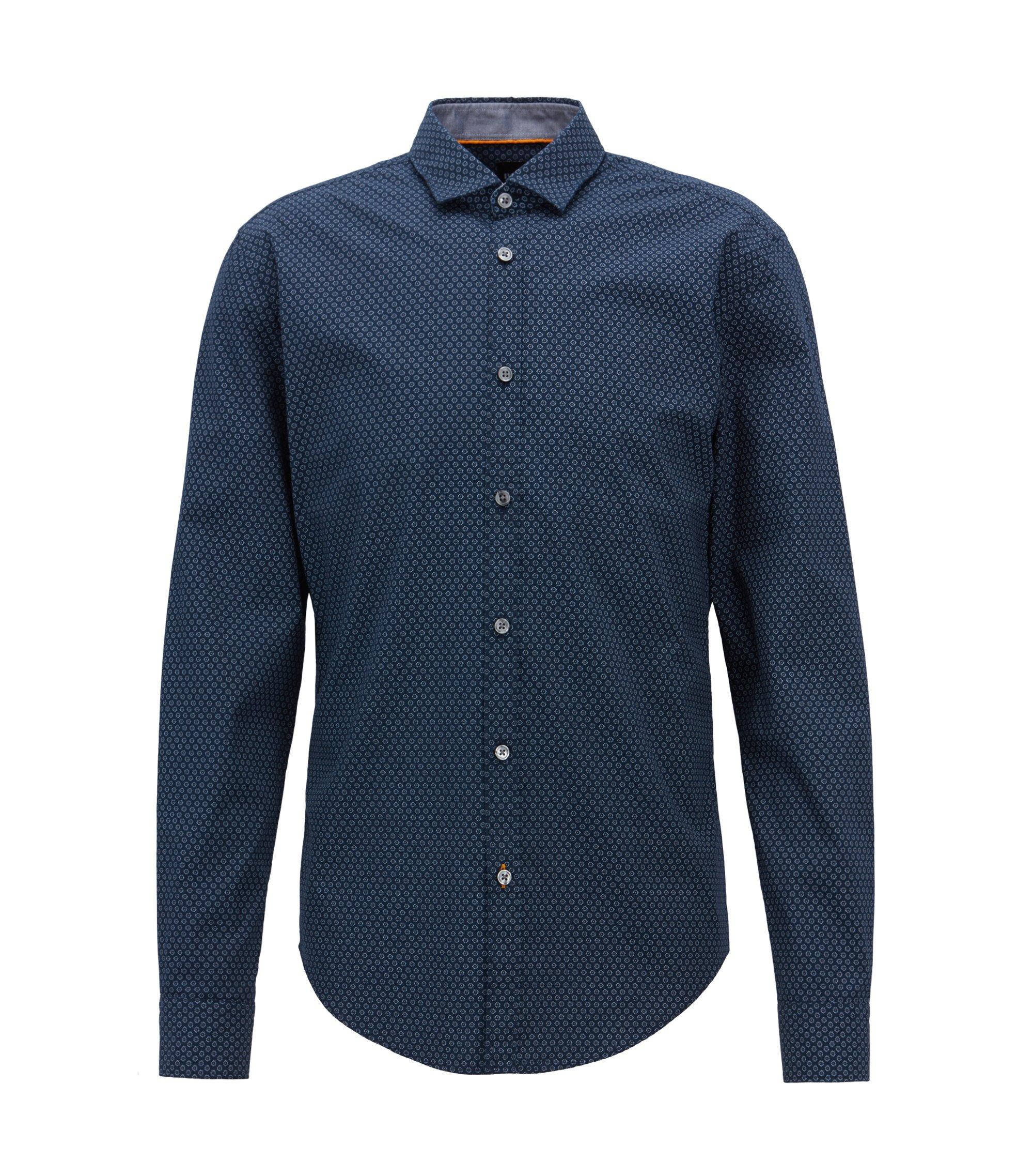 Slim-fit shirt in flower-print cotton voile, Open Blue