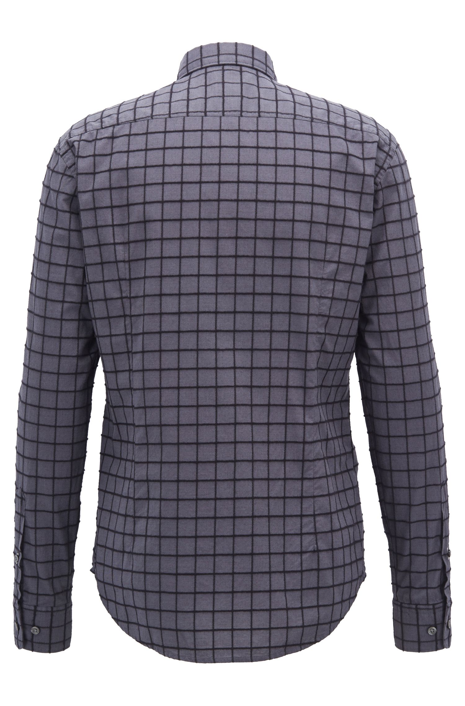 Slim-fit shirt in dobby cotton with brushed check pattern, Open Grey