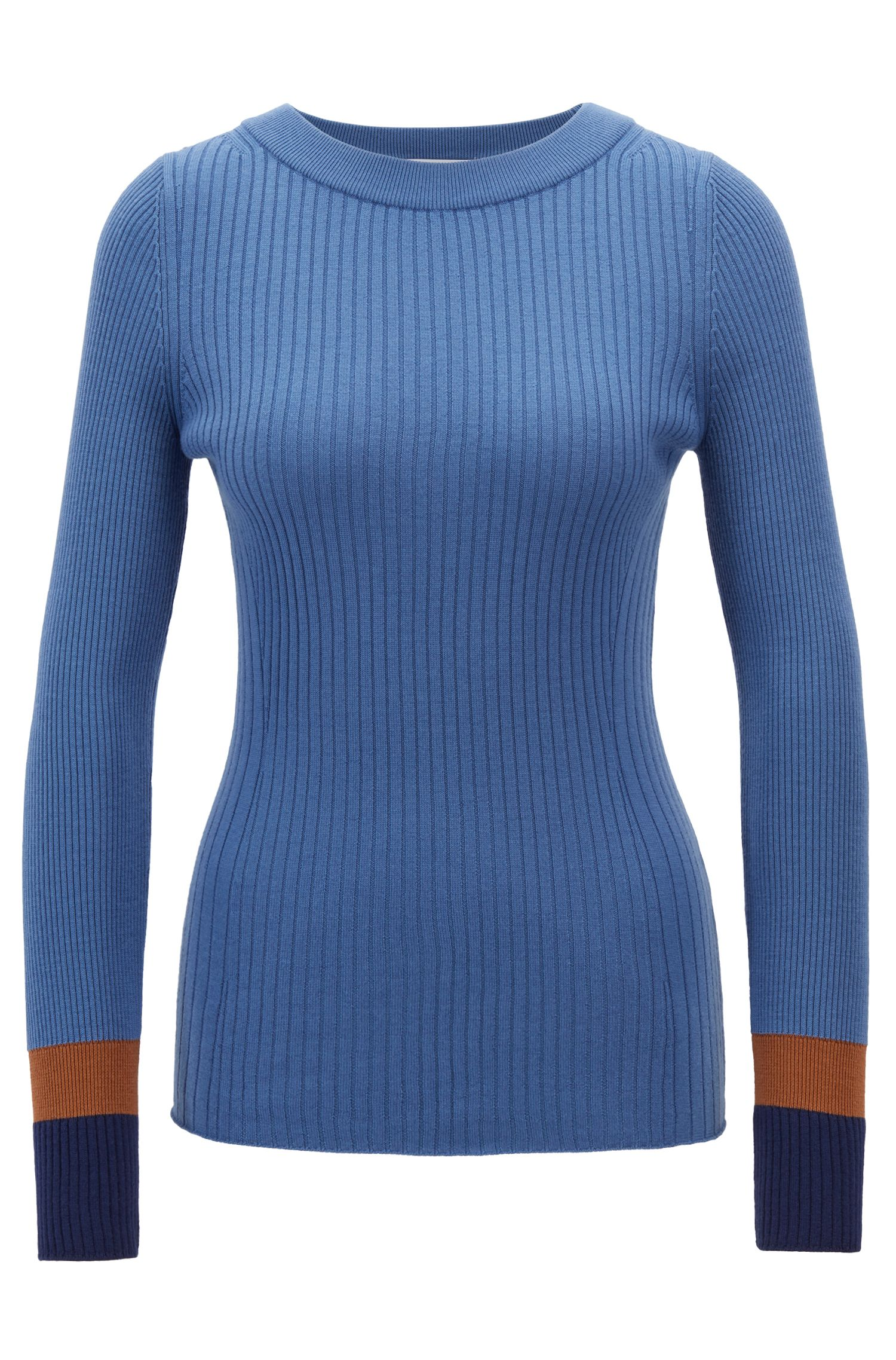 Slim-fit sweater in virgin wool with colorblock cuffs, Patterned