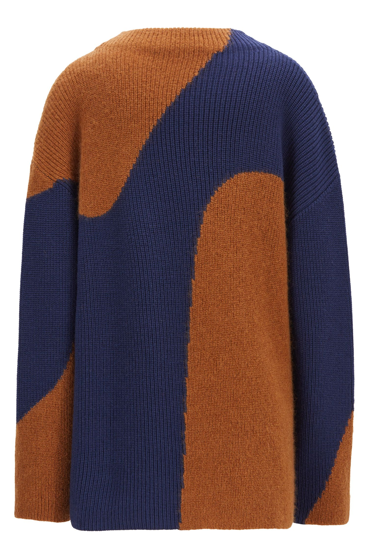 Relaxed-fit sweater in a wool blend with colorblocking, Patterned