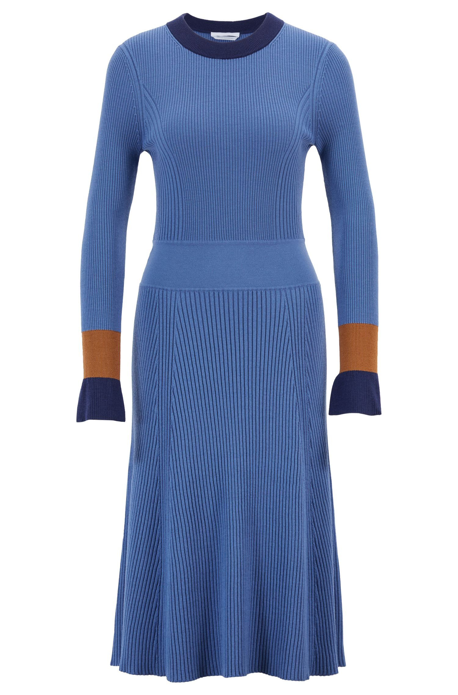 Knitted long-sleeved dress with colorblocking, Patterned