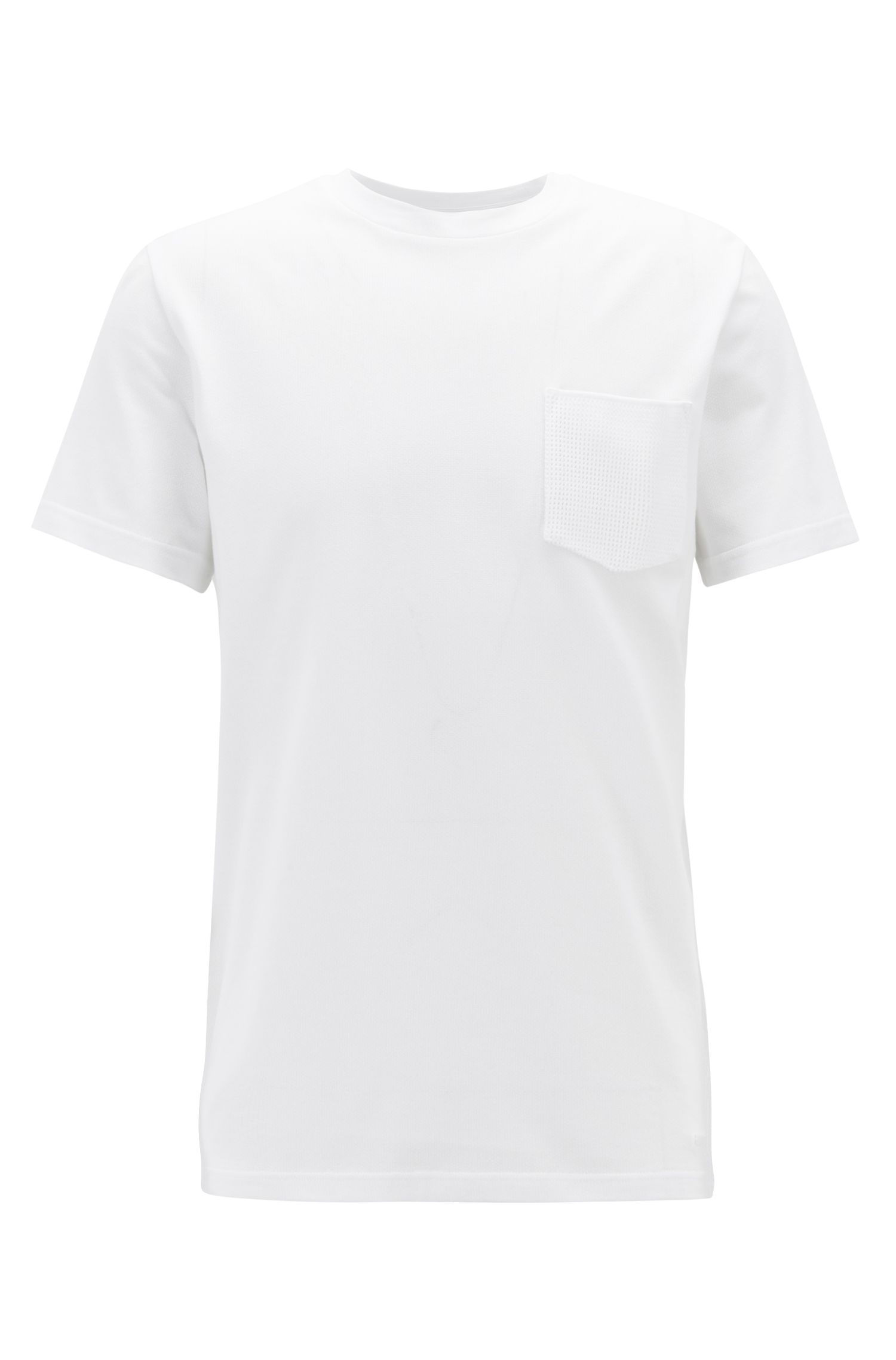 Relaxed-fit T-shirt in structured cotton with knitted pocket, White