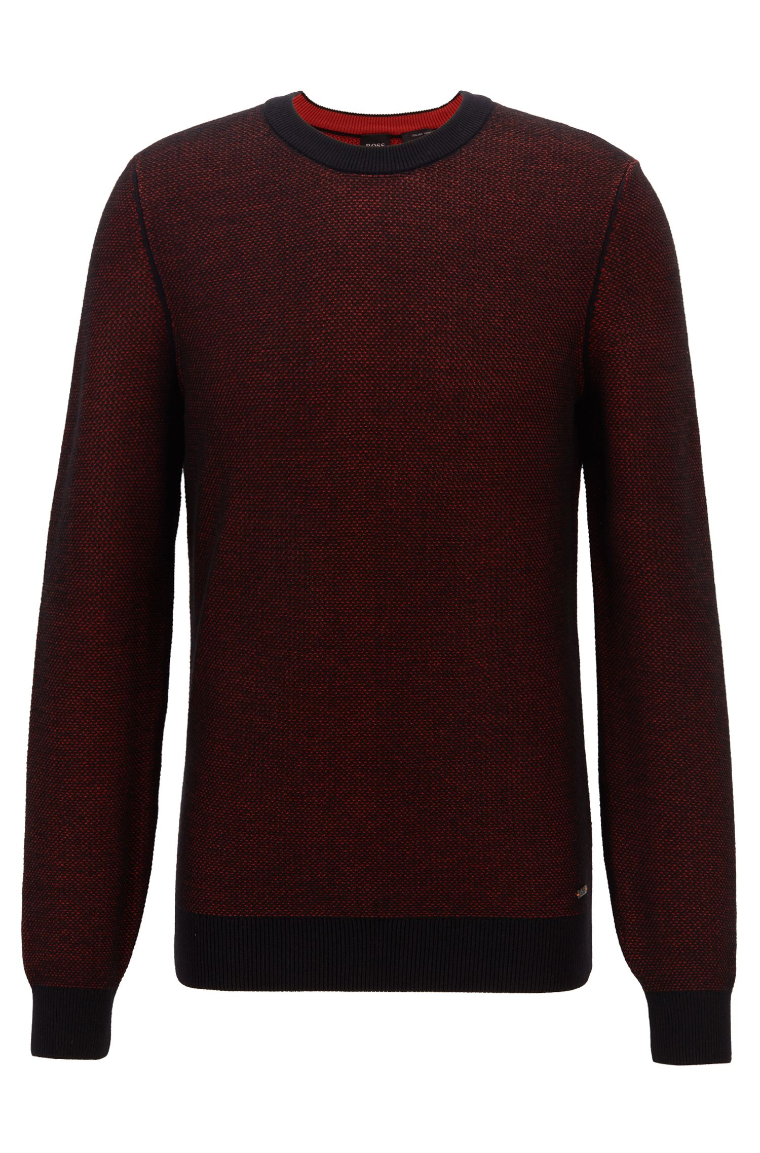 Crew-neck sweater in micro-structured Italian cotton, Black