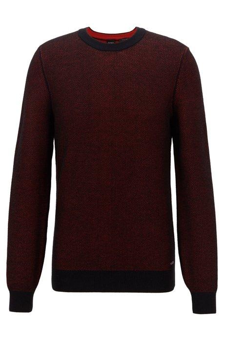 Crew-neck sweater in micro-structured Italian cotton, Black