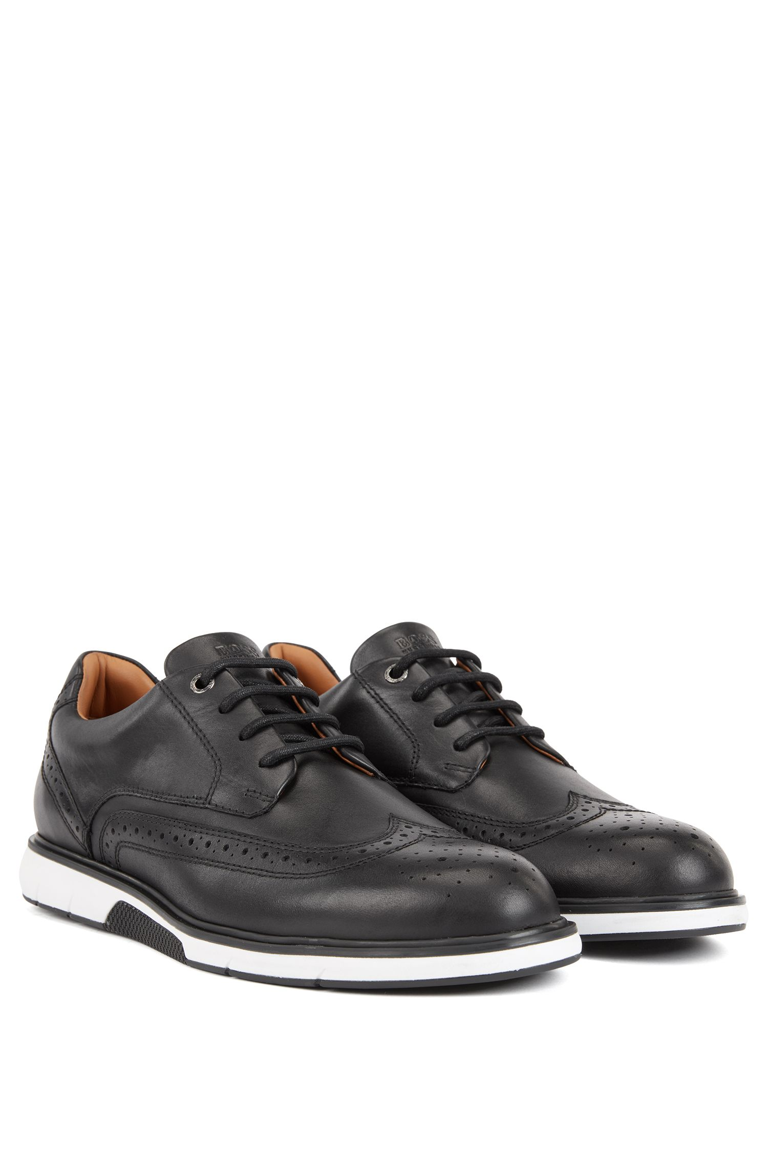 Leather Derby shoes with sneaker-style sole, Black