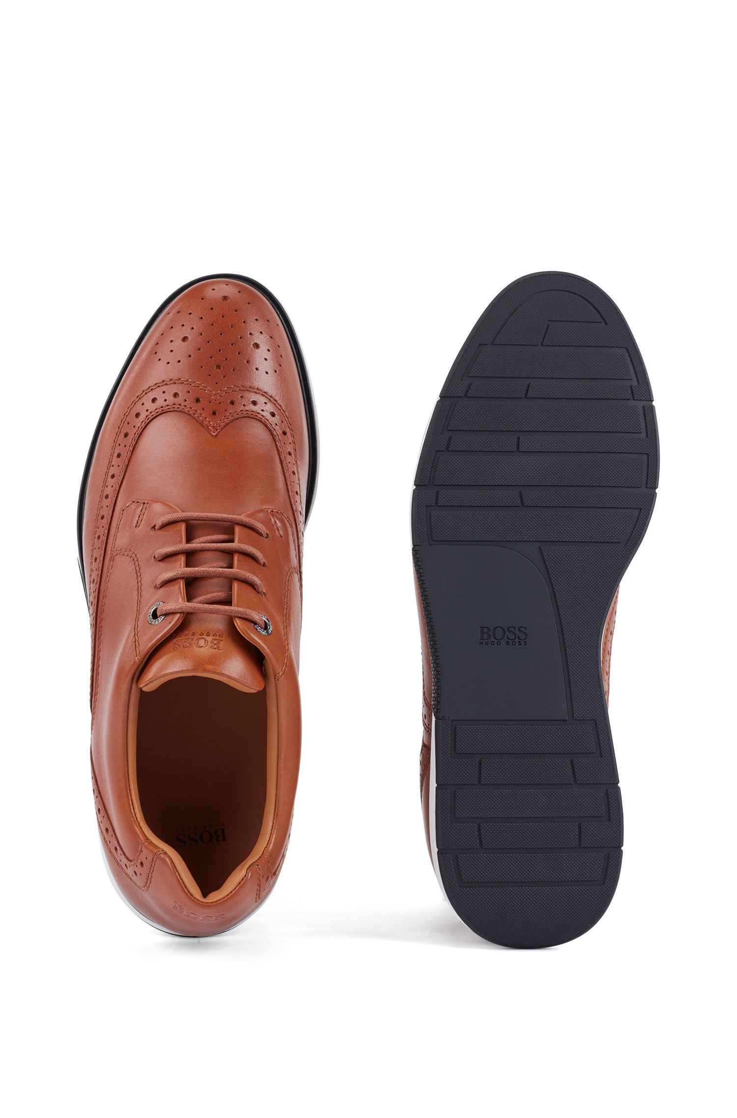 Leather Derby shoes with sneaker-style sole, Brown