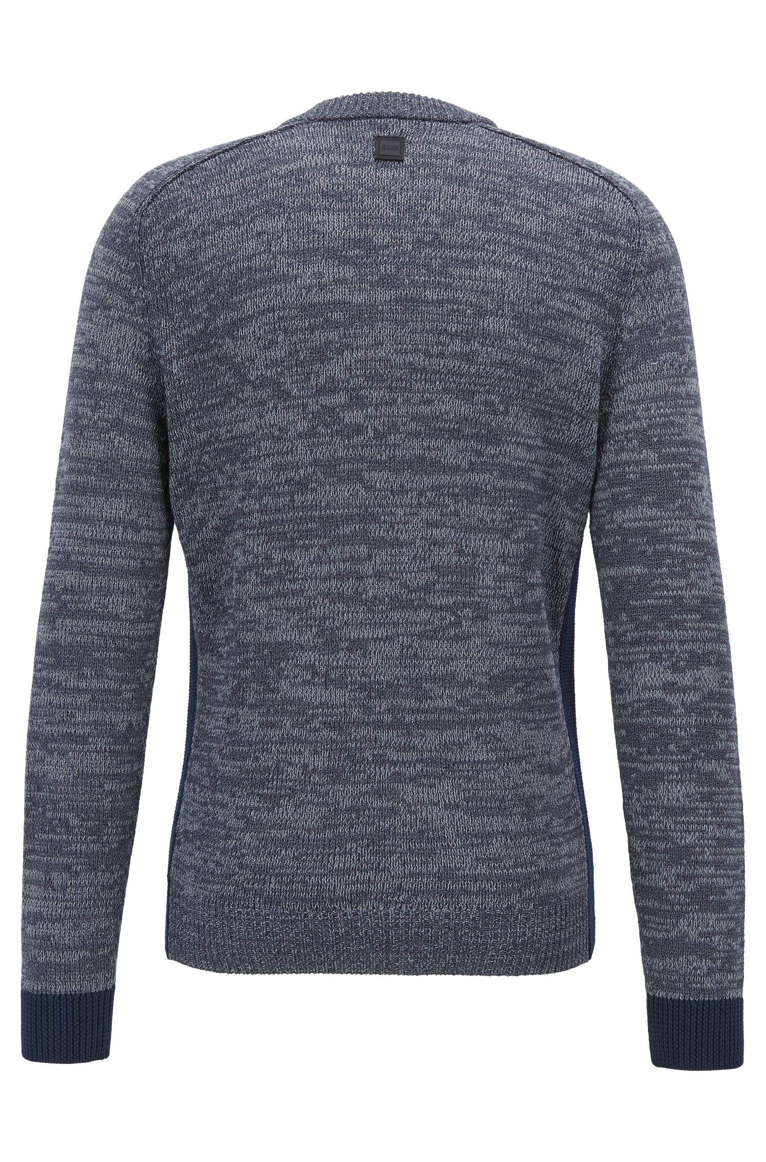 Crew-neck knitted sweater with contrast ribbed cuffs, Dark Blue