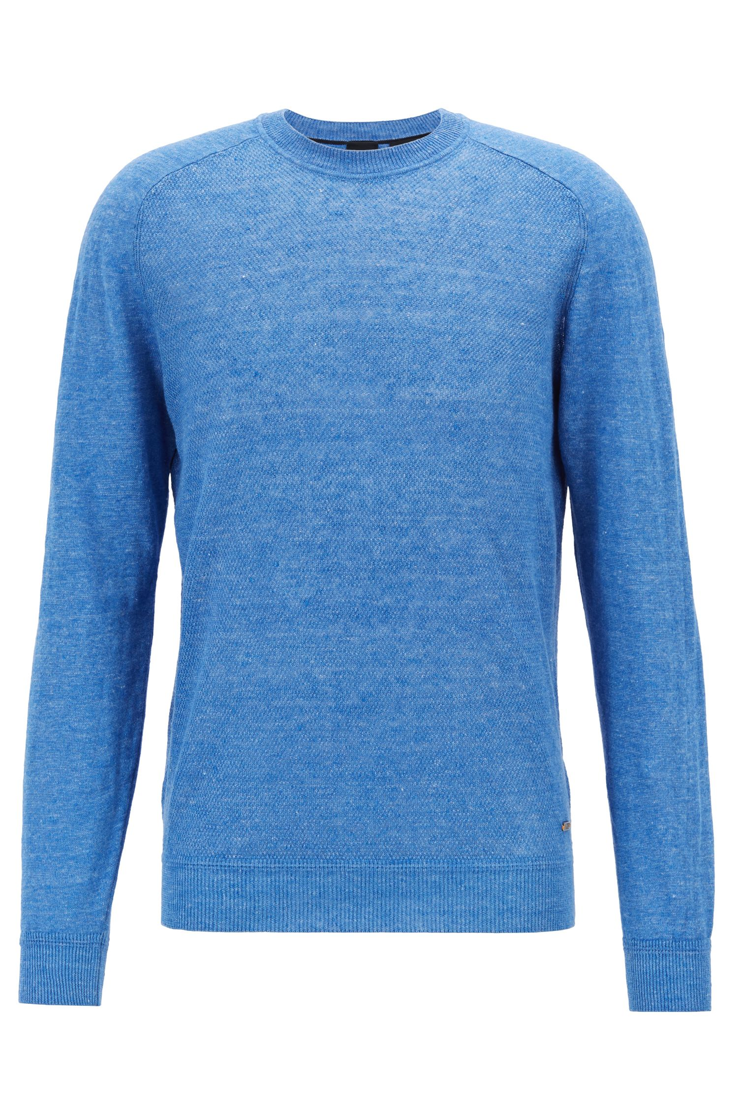 Micro-structured sweater in melange linen with ottoman detailing, Light Blue