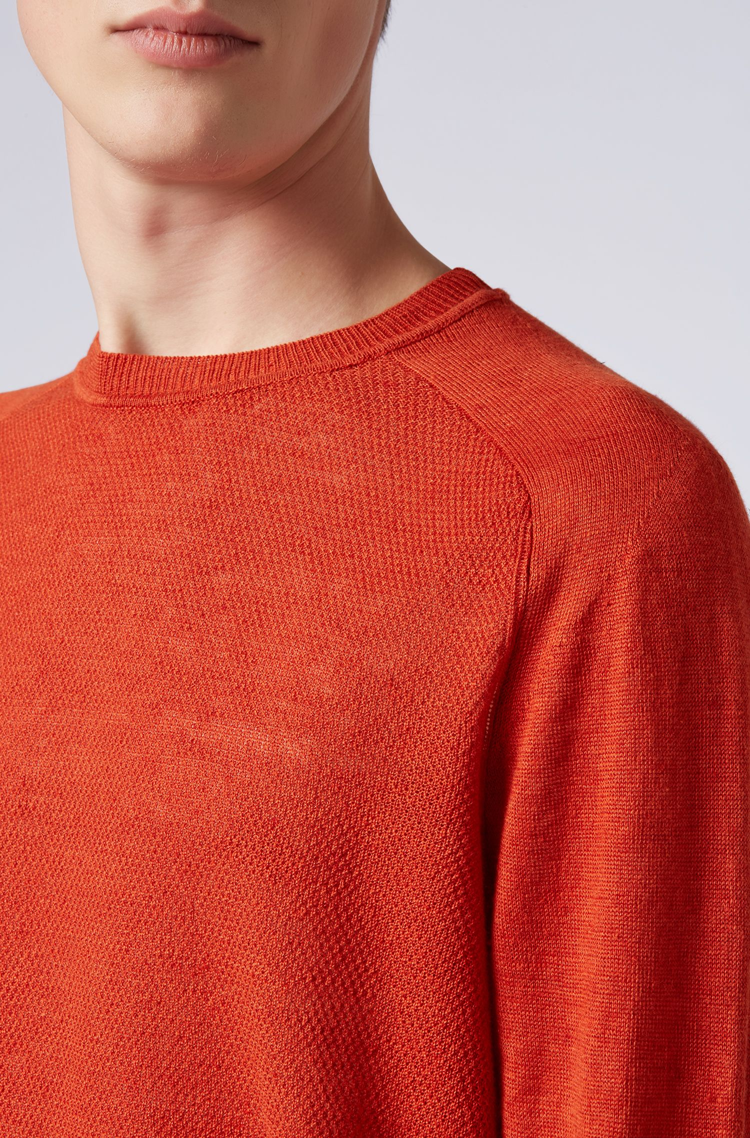 Micro-structured sweater in melange linen with ottoman detailing, Dark Orange