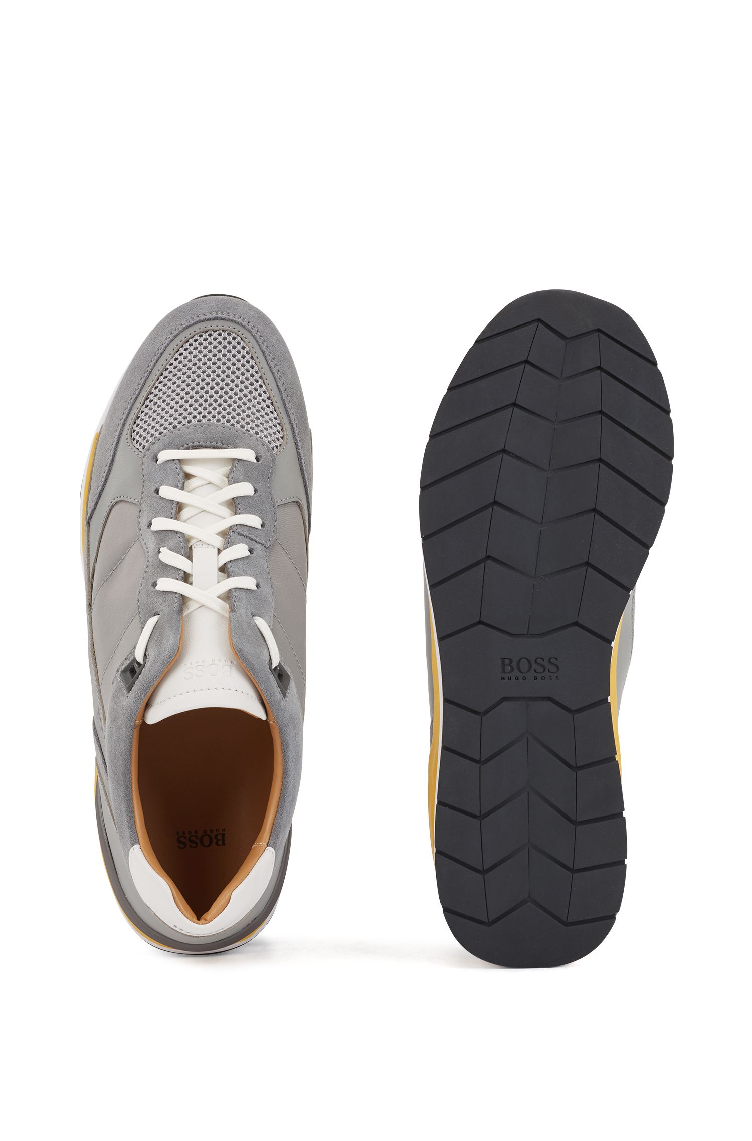 Low-top sneakers with hybrid uppers and mesh details, Dark Grey