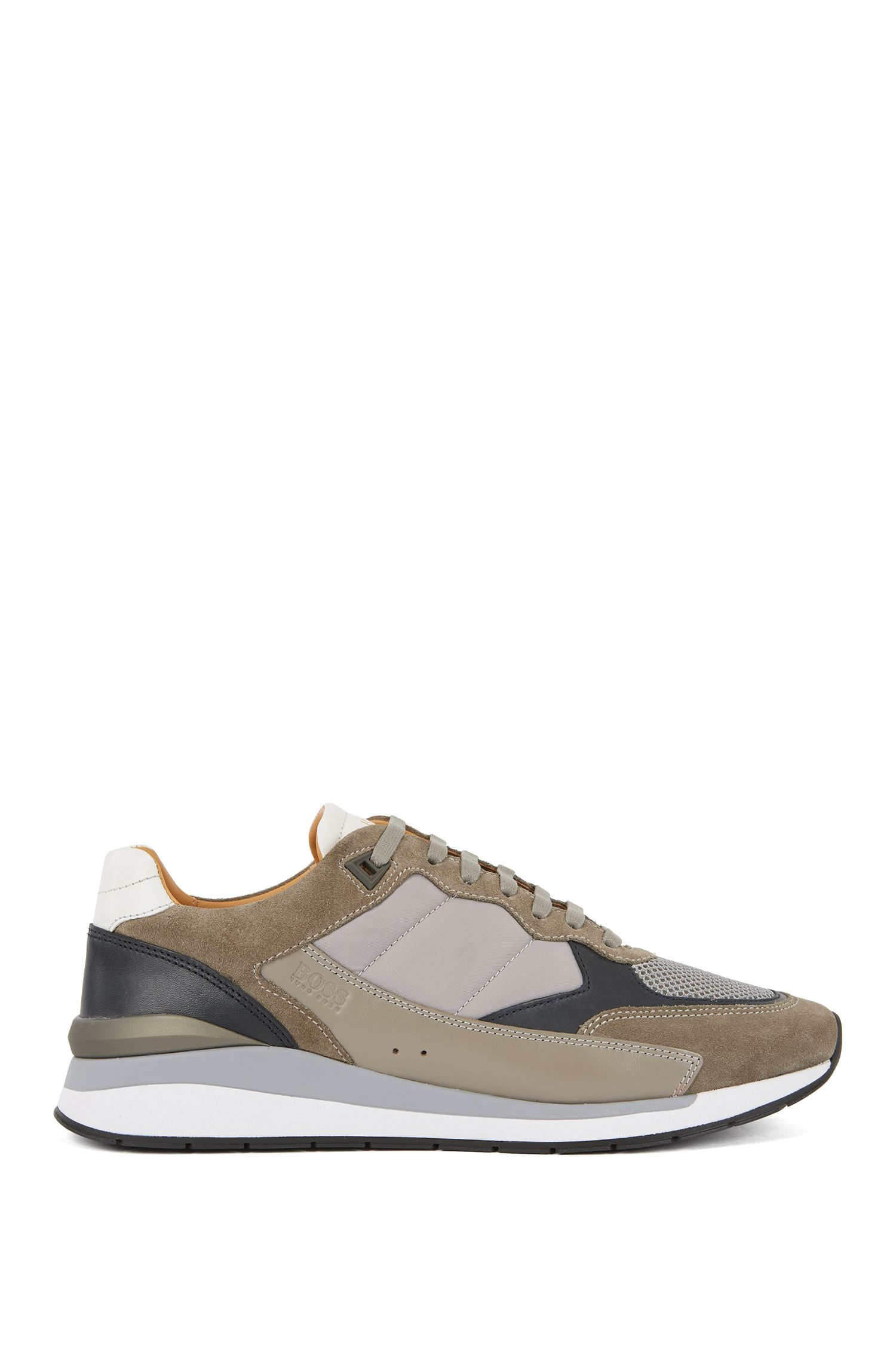 Low-top sneakers with hybrid uppers and mesh details, Grey