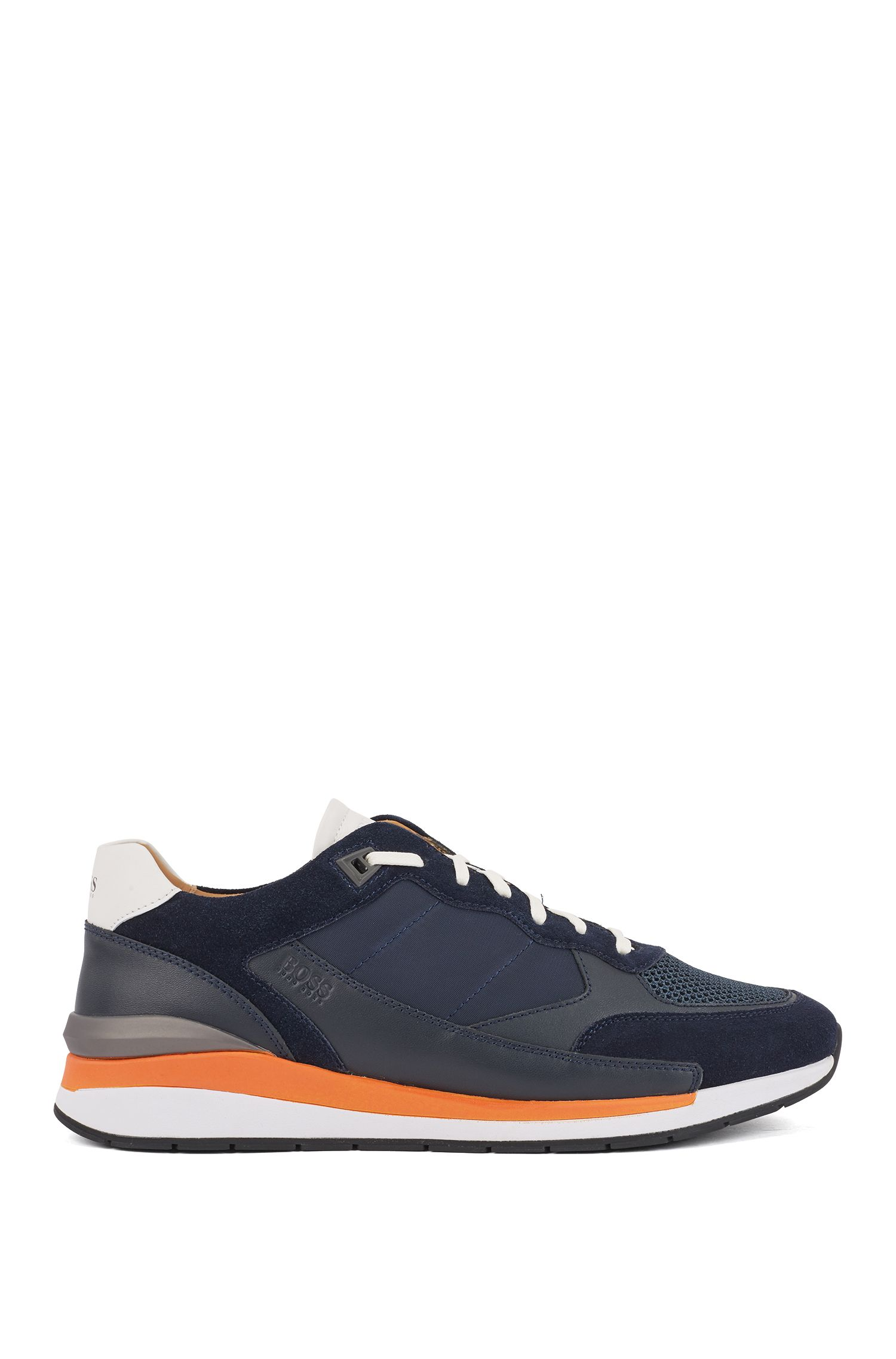 Low-top sneakers with hybrid uppers and mesh details, Dark Blue