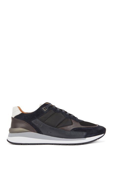 Low-top sneakers with hybrid uppers and mesh details, Open Blue