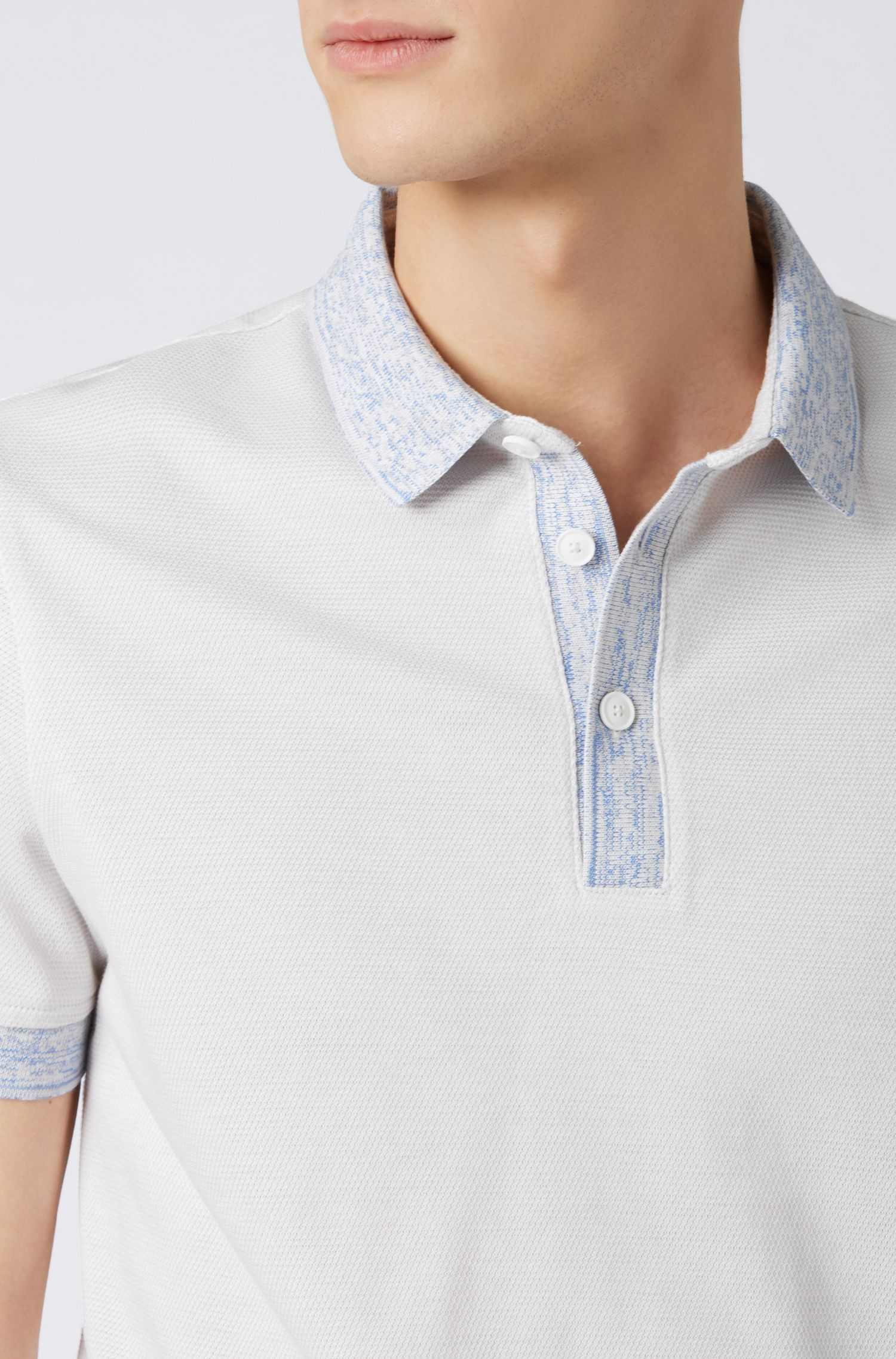 Relaxed-fit polo shirt in cotton with patterned trims, White