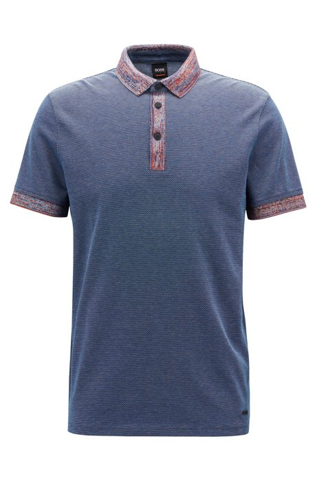 Relaxed-fit polo shirt in cotton with patterned trims, Dark Blue