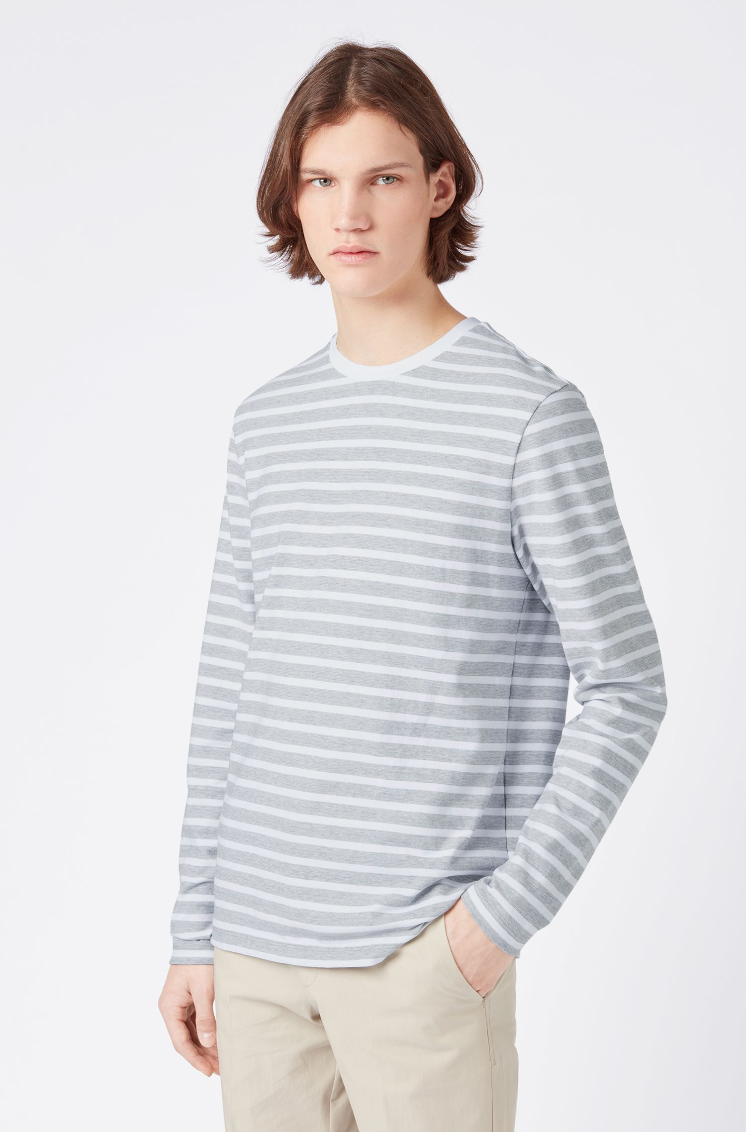 Horizontal-striped long-sleeved T-shirt in cotton, Open Grey