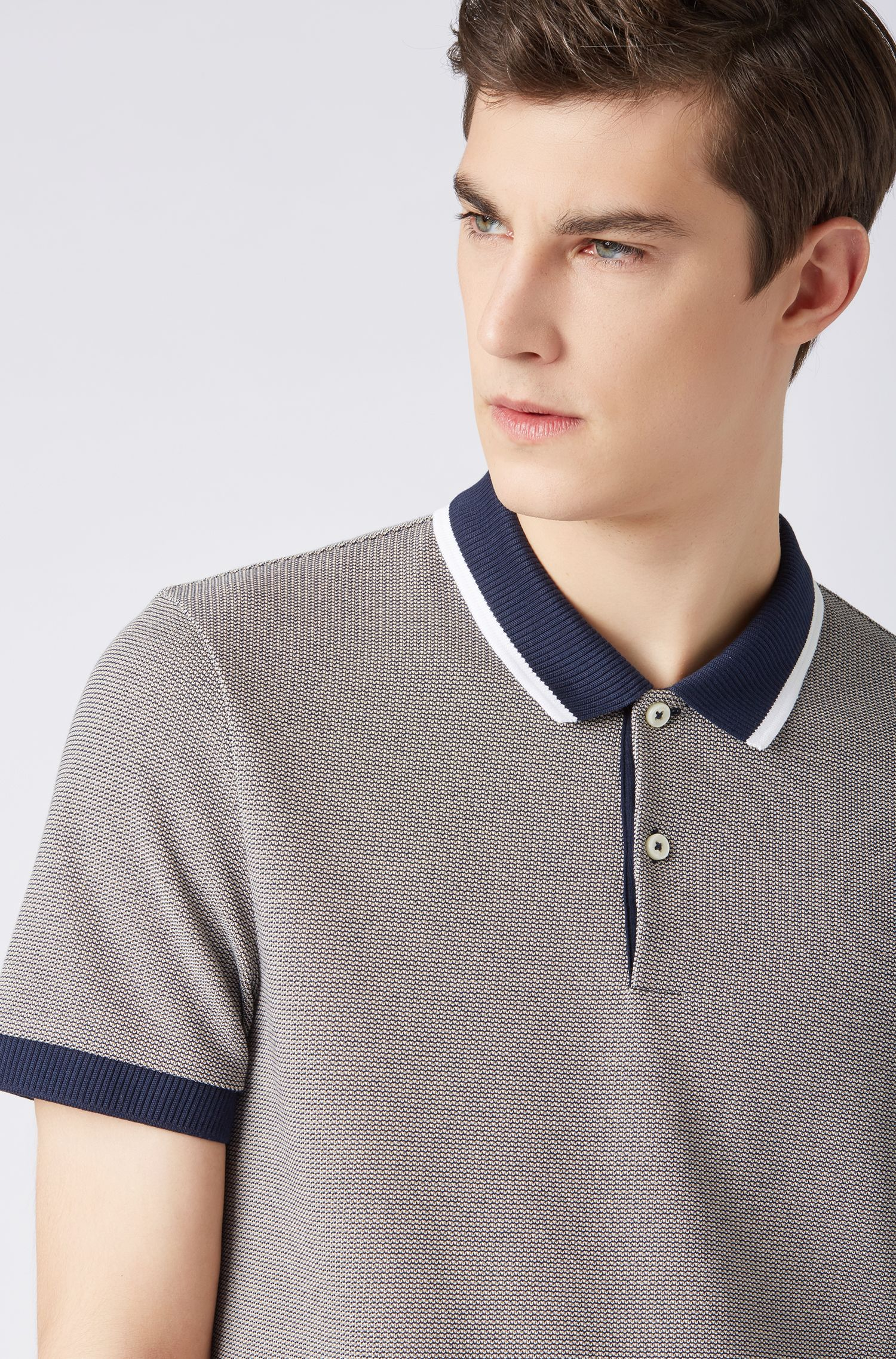 Regular-fit polo shirt with contrast collar and tipping, Dark Blue
