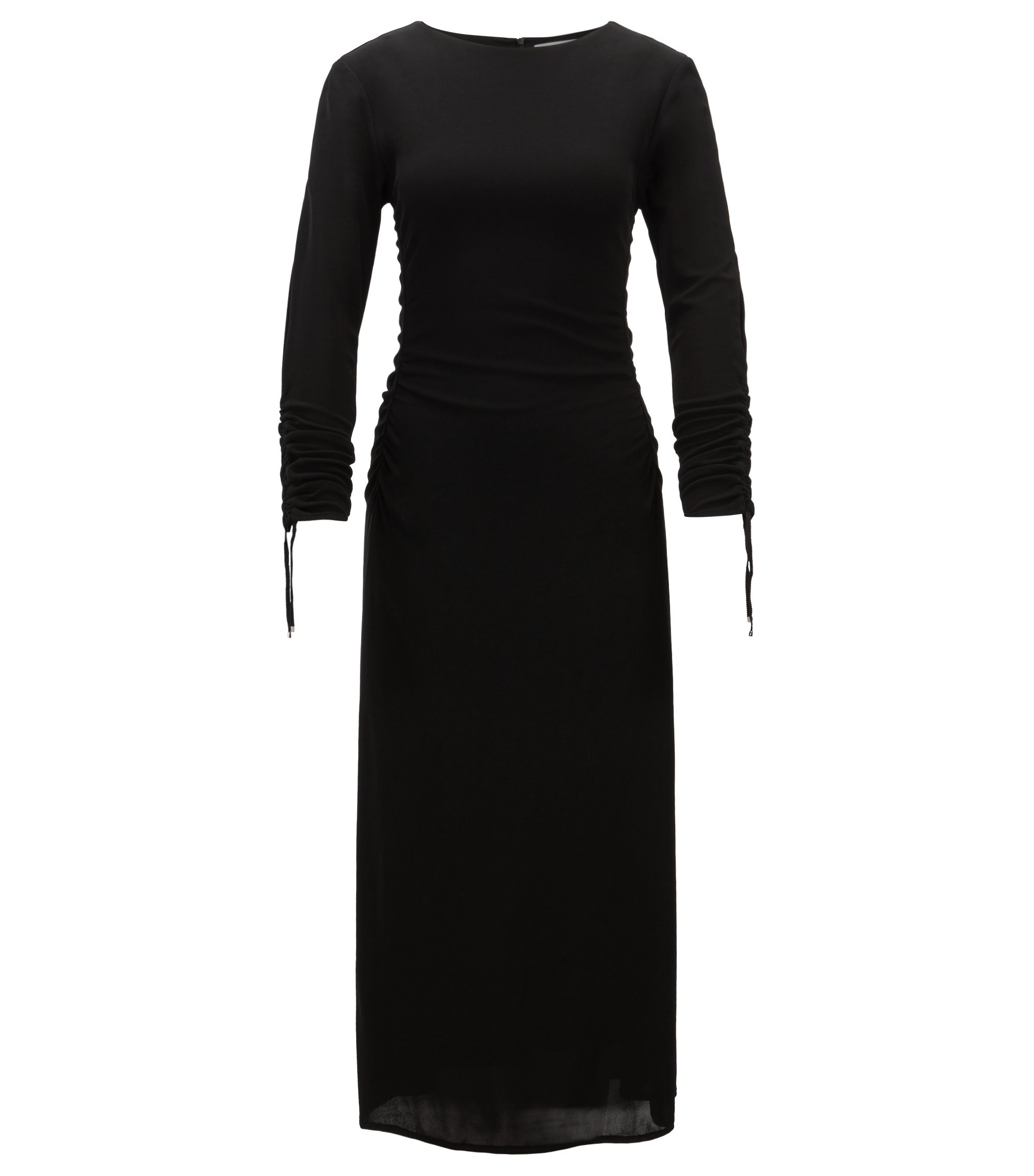 Long-length matte-jersey dress with gathered sleeves, Black