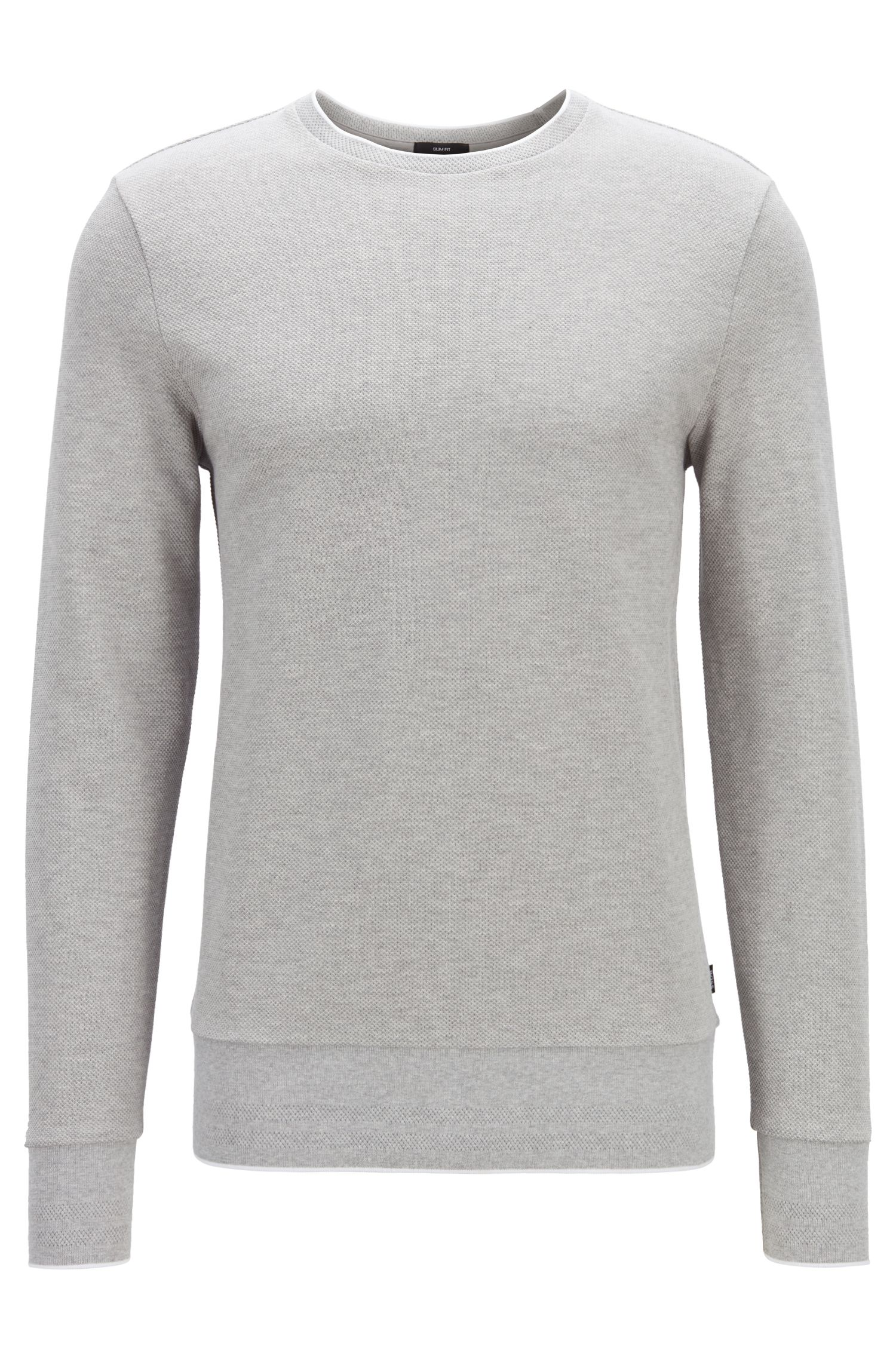 Slim-fit sweater in mesh-structured cotton, Open Grey